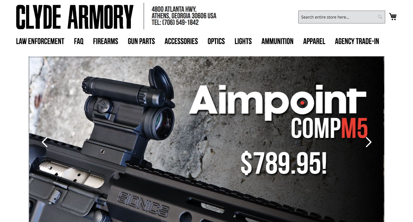 Clyde Armory - As project manager for this Magento website redesign, I collaborated with the client, design team, and developers to build strategy documents, site map, wireframes, graphics, and content.
