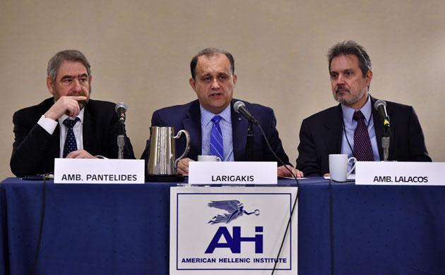 From left: Ambassador Leonidas Pantelides, AHI President Nick Larigakis, Ambassador Haris Lalacos.