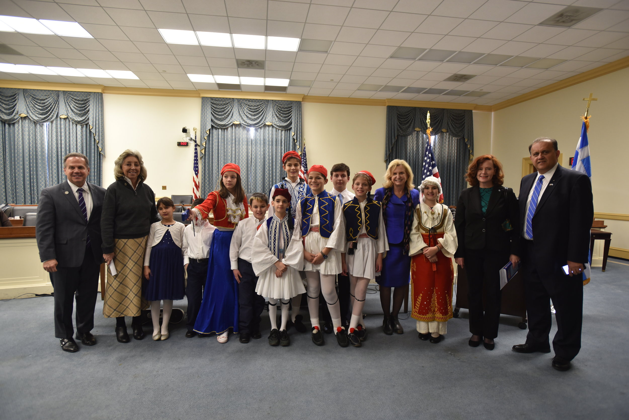 Rep. David Cicilline, Rep. Dina Titus, Rep. Carolyn Maloney and AHI President Nick Larigakis with the students of the Hellenic Education Center of the Greek Orthodox Church of Saint Katherine, Falls Church, VA.