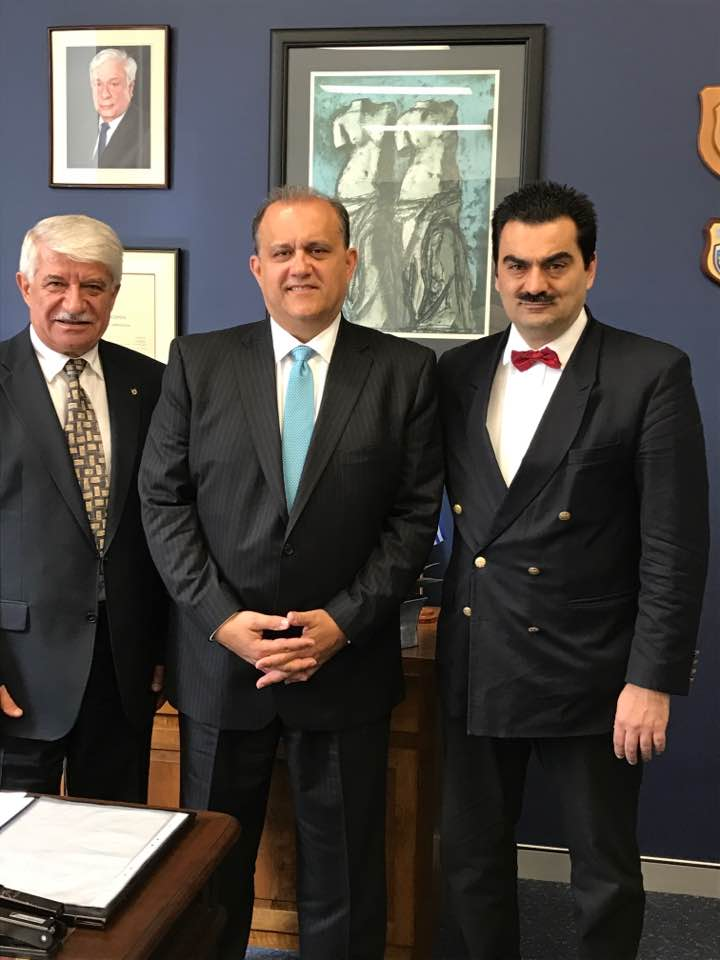 Visit with Greek Consul General of Sydney, Dr. Stavros Kyrimis (r) and AHEPA NSW Grand President, John Kallimanis (L)
