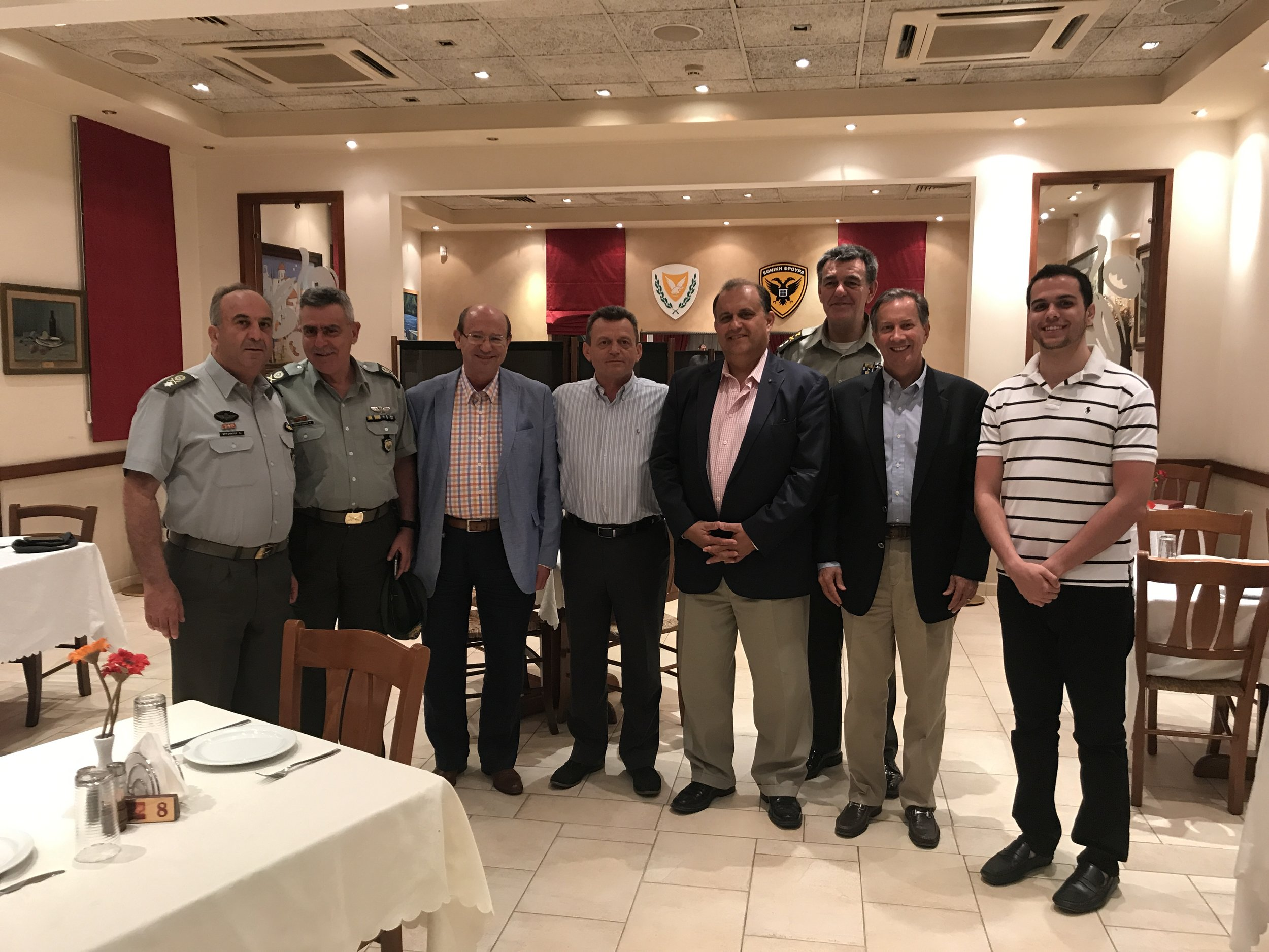 Dinner hosted by Lt. General Ilias Leontaris, Chief of the National Guard of Cyprus (center) at the Officers Club