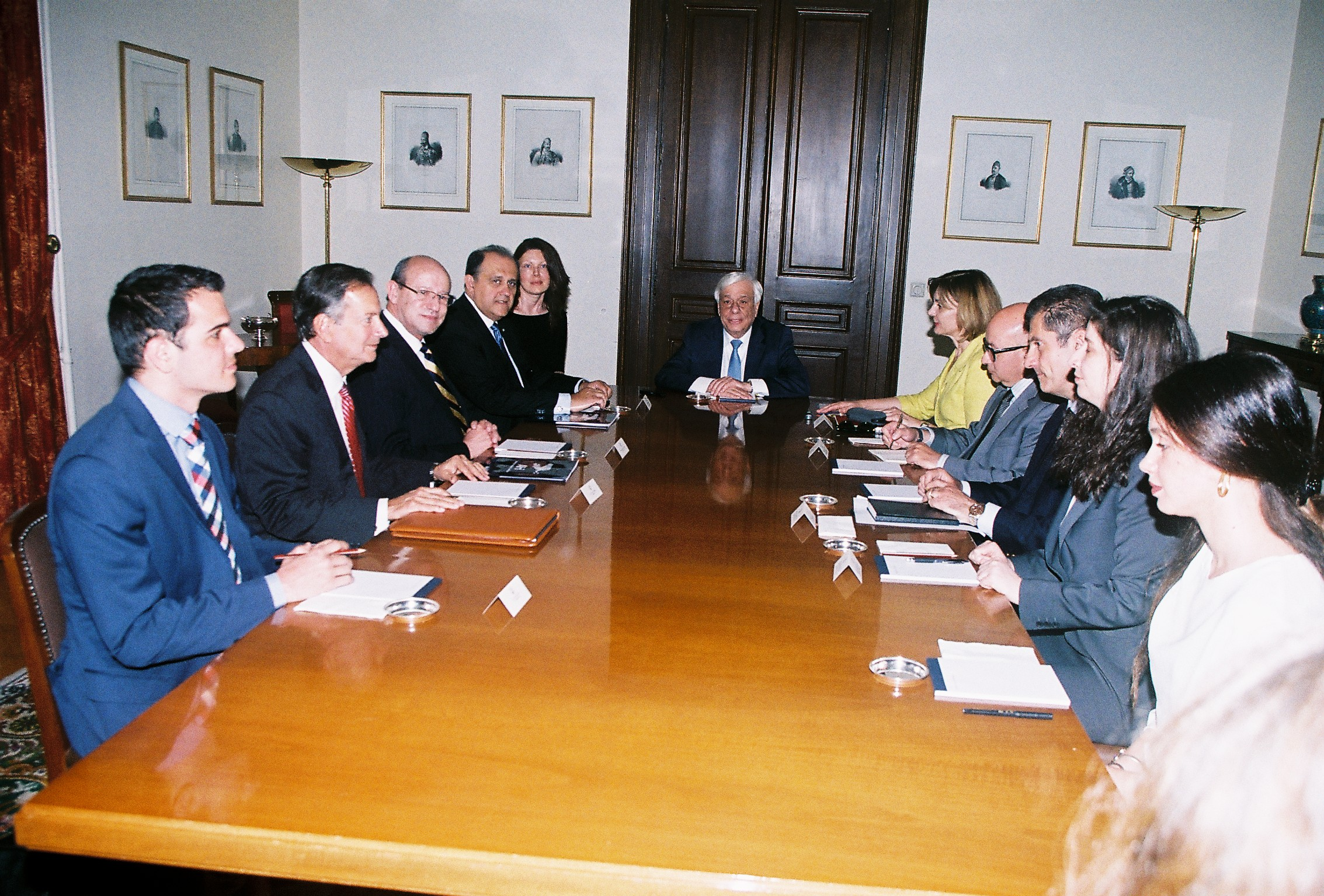 AHI Delegation briefing with President Pavlopoulos and staff