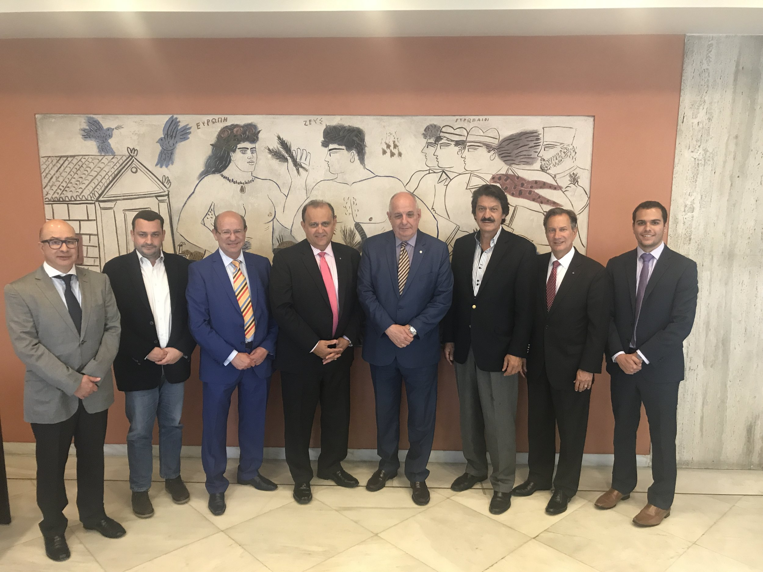 AHI Delegation with Deputy Foreign Minister Terens Quick (center); Ambassador Dimitri Alexandrakis, Director of A7, Department for North America, Ministry of Foreign Affairs(left); and Michael Kokkinos, Head of General Secretariat for Greeks Abroad