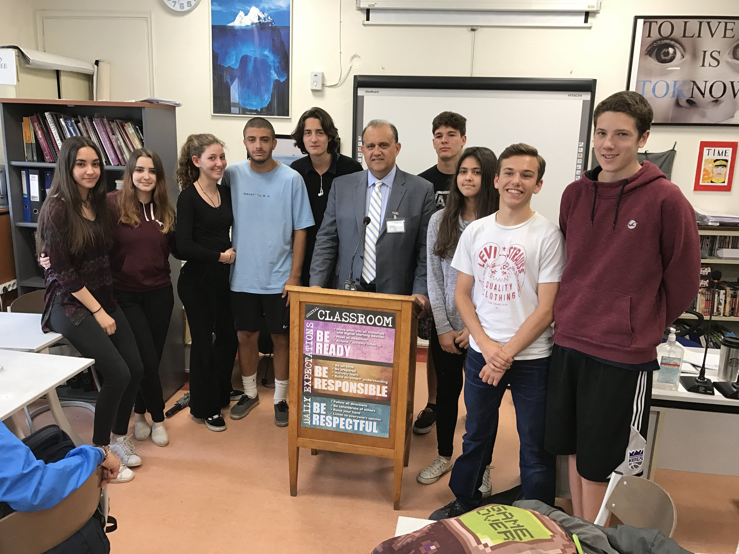 Nick Larigakis with students from the American Community School (ACS)
