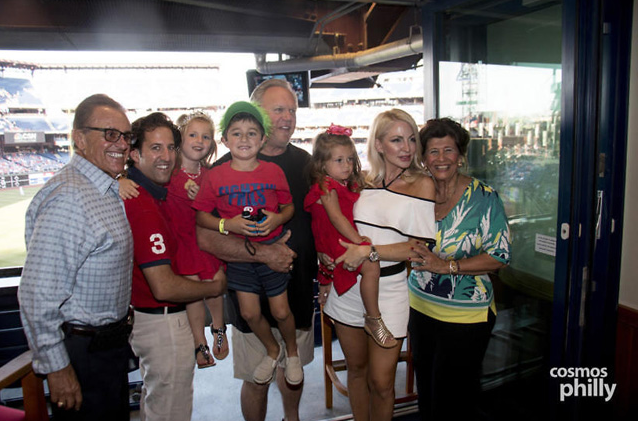 """The Nicozisis Family with Phillies Great Greg """"The Bull"""" Luzinski enjoying the VIP Suite. (photo credit: CosmosPhilly)"""