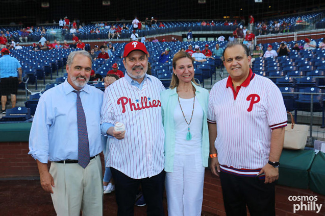 On the field pre-game were (L-R): Phillies Director of Publicity John Brazer, Ambassador Haris Lalacos and Mrs. Lalacos, and AHI President Nick Larigakis. (photo credit: CosmosPhilly)