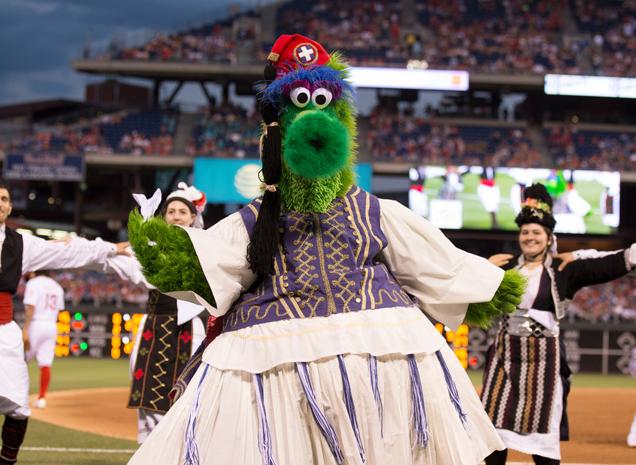 The Phillie Phanatic in full Evzone costume mode. (photo credit: Philadelphia Phillies)