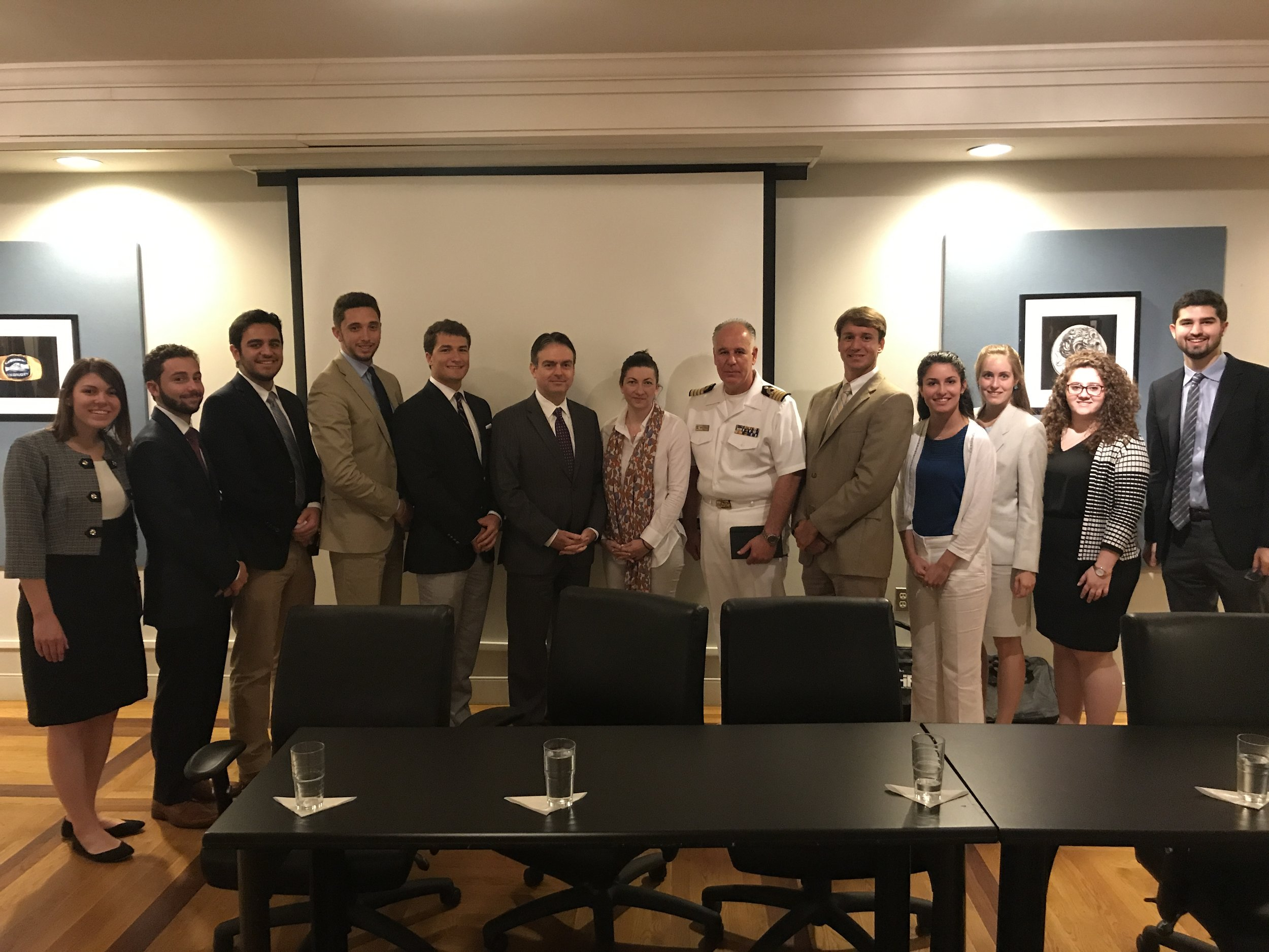 Alexios Mitsopoulos, first counselor for Political Affairs; Fani Lenou, first secretary for Economic and Commercial Affairs; and Captain Panagiotis Papanikolaou, Naval Attaché.