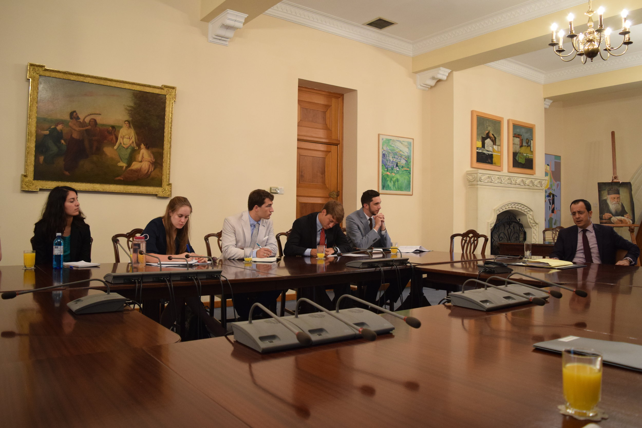 Nicos Christodoulides, Cypriot Government Spokesman briefs students at the Presidential Palace.