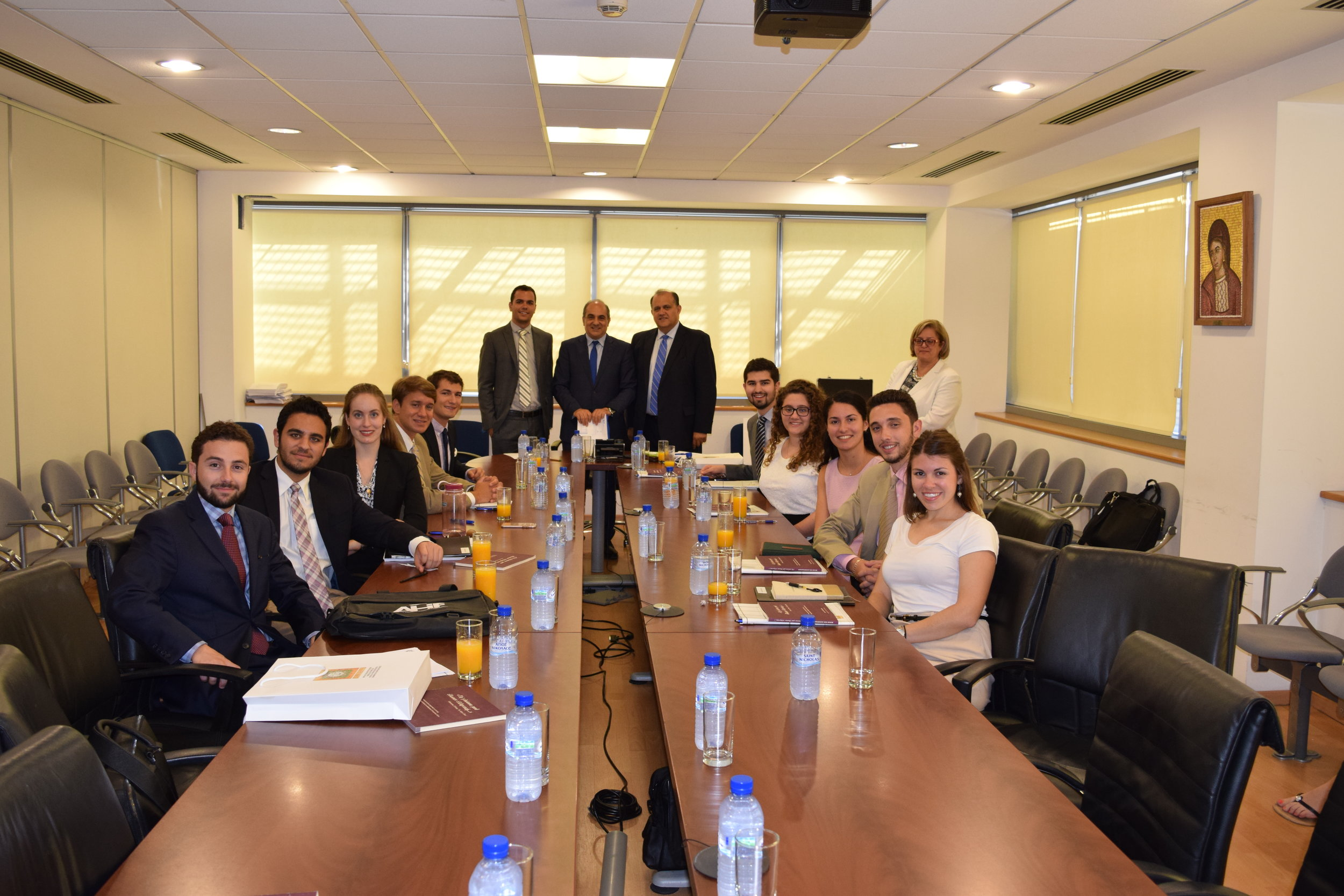 President of the House of representatives Demetris Syllouris briefs students at the Cypriot House of Representatives.