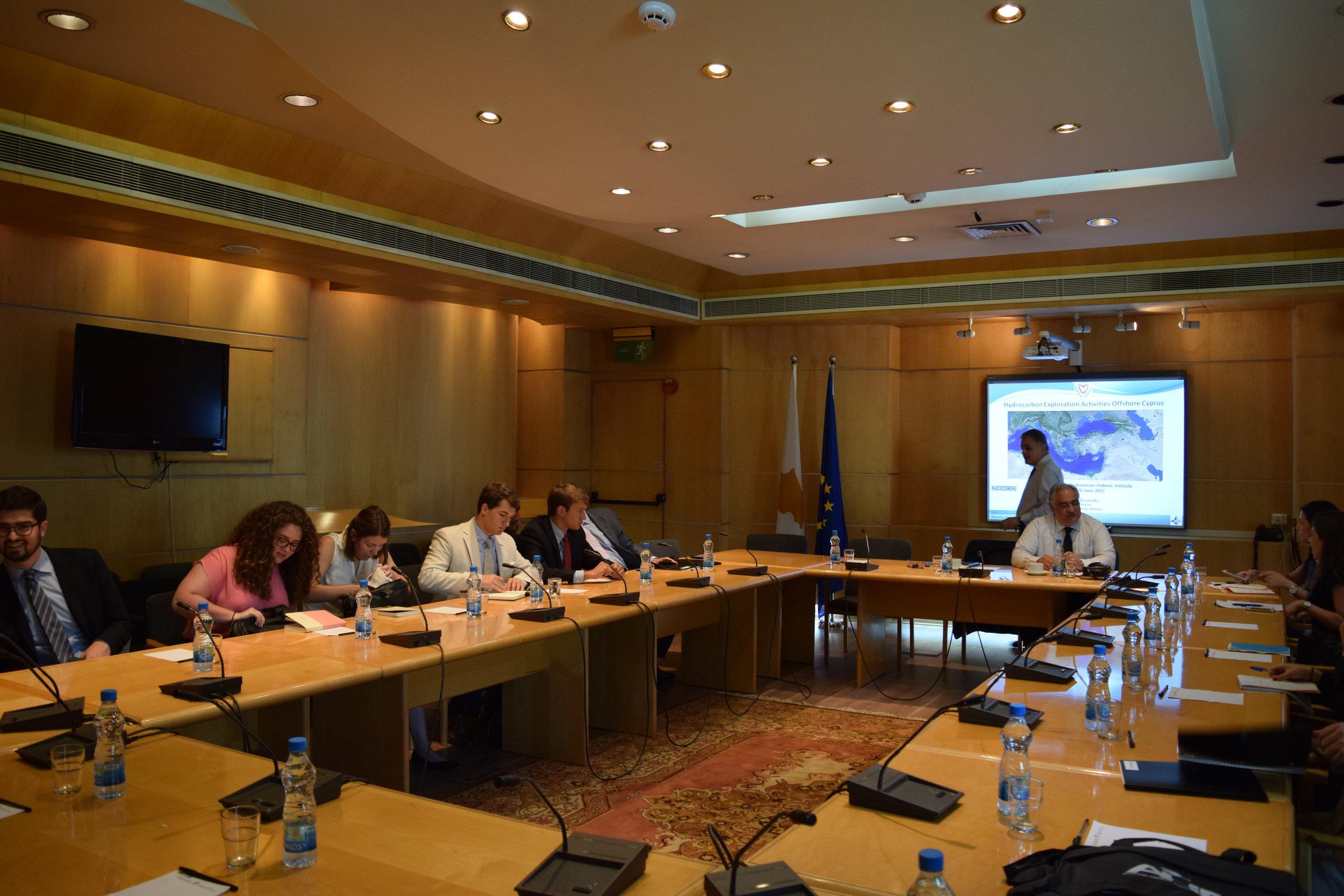 Energy briefing with Ambassador George Zodiatis, Dr. Stelios Nikolaides, and Evi Neophytou.