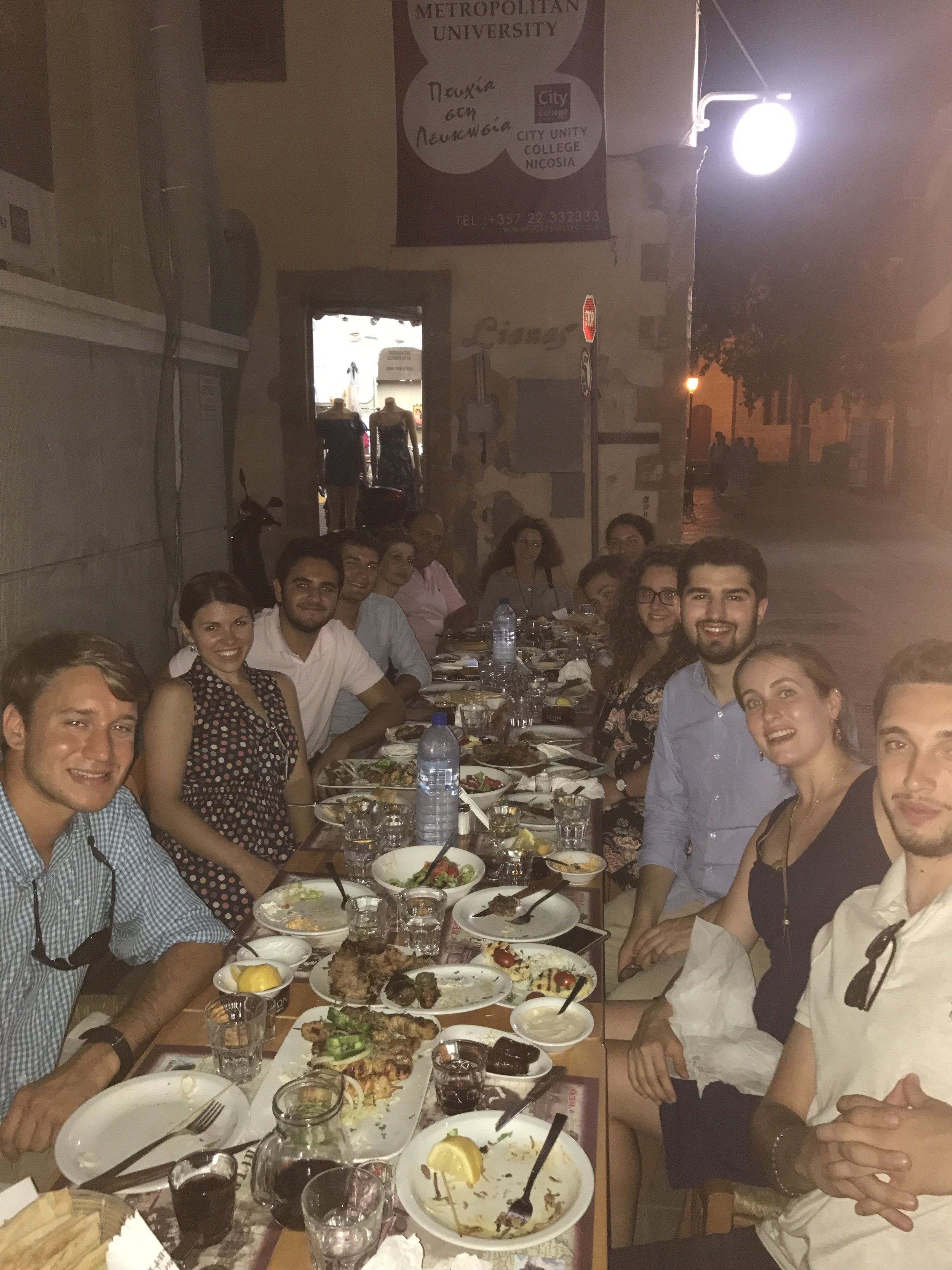 Cyprus Farewell dinner with Sophie Michaelides, Director of the PIO and Melina Demetriou, Press and Information Officer.