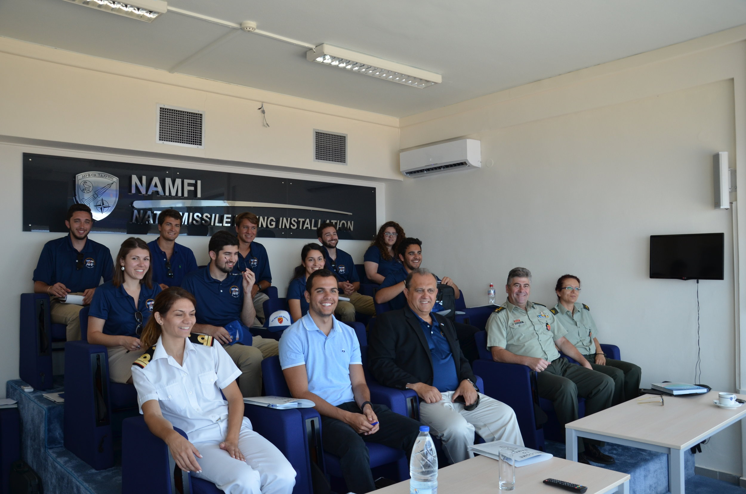 Brigadier General Anastasios Gkoumas, Commander of the NATO Missile Firing Installation (NAMFI) provides the students with a briefing on the NAMFI facilities.