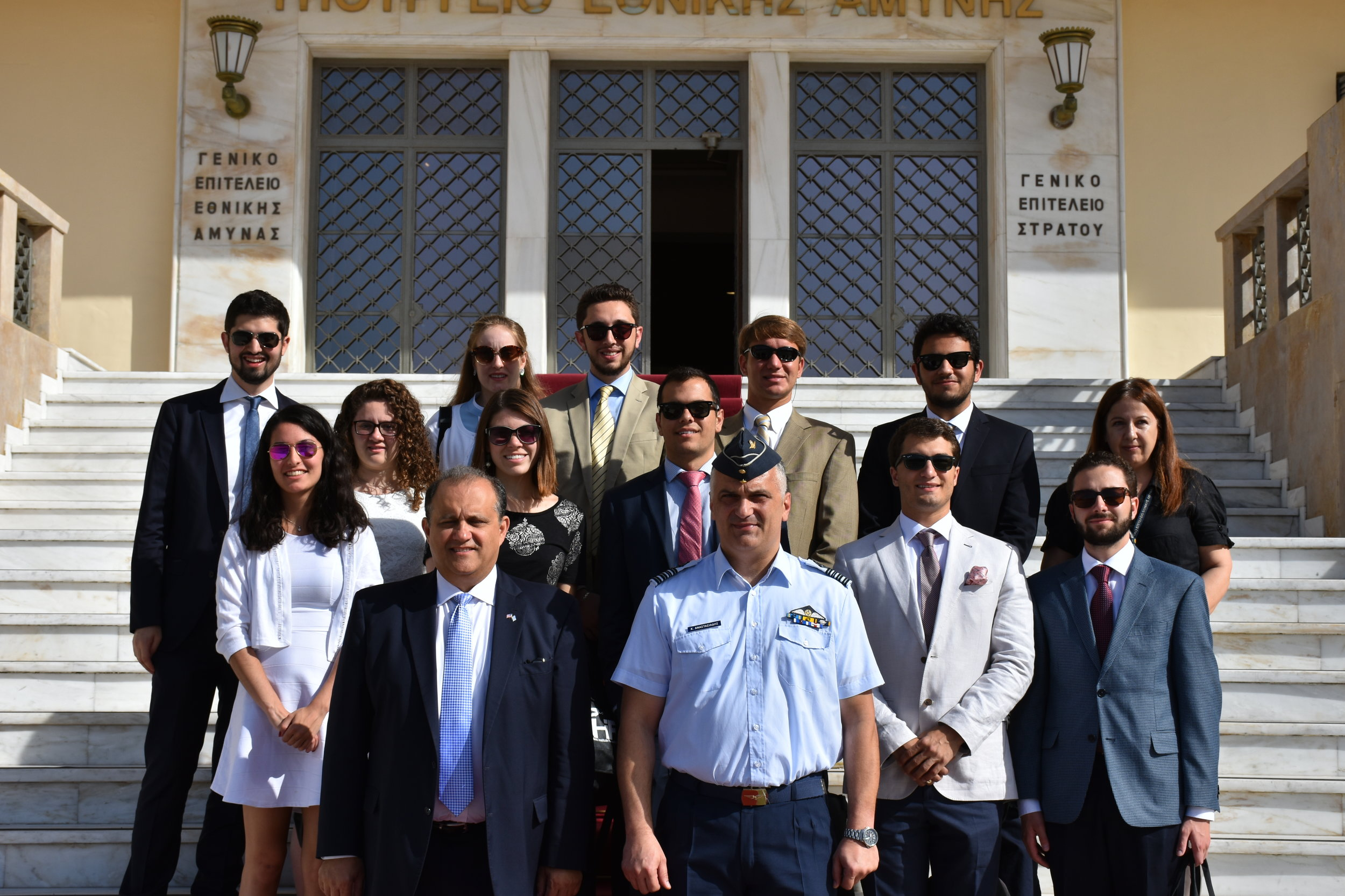 Lt. Col. Christos Anastasiadis, Deputy Director, Public Relations Directorate welcoming students to the Ministry of Defense.