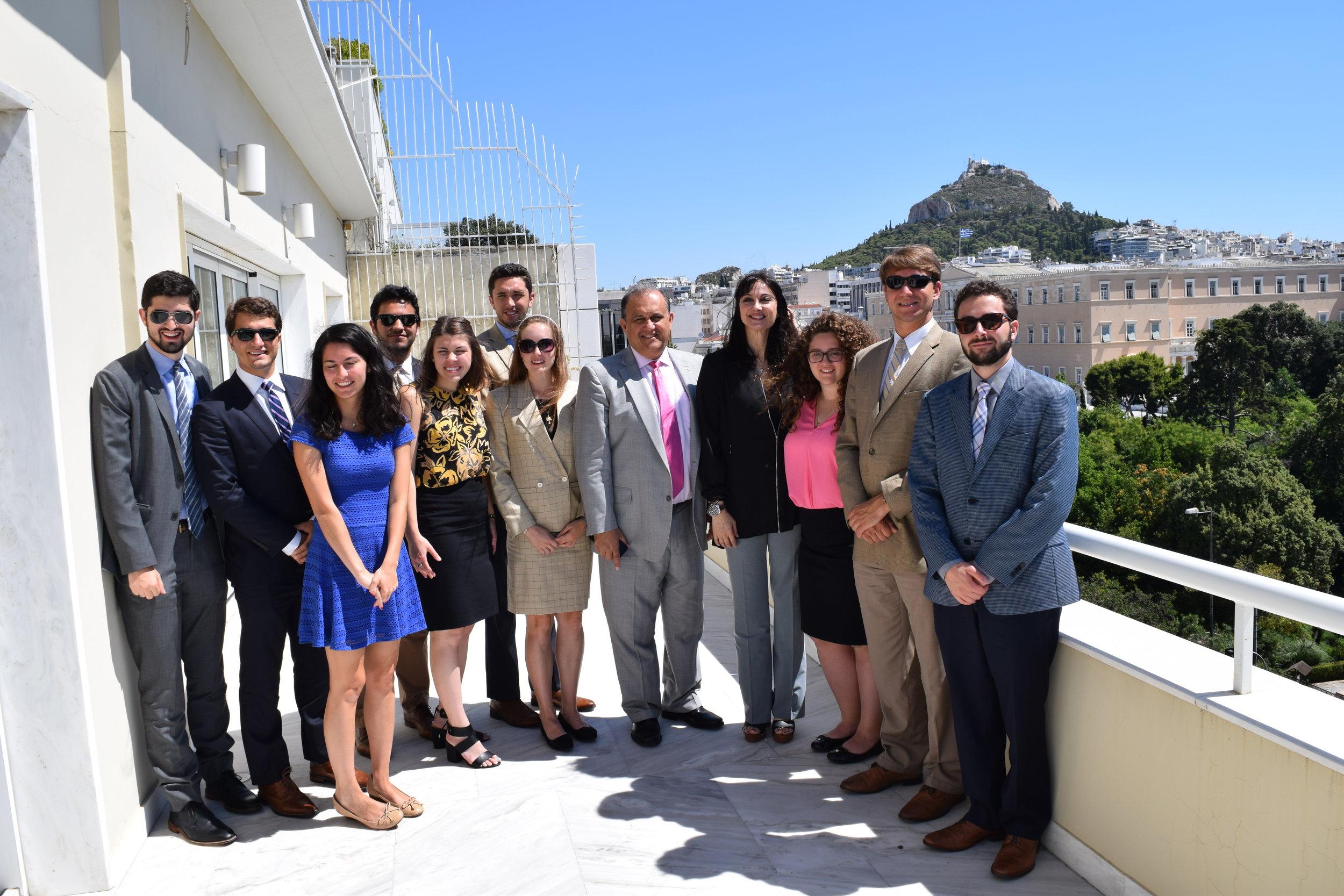 Minister of Tourism Elena Kountoura discusses US tourism to Greece with students.