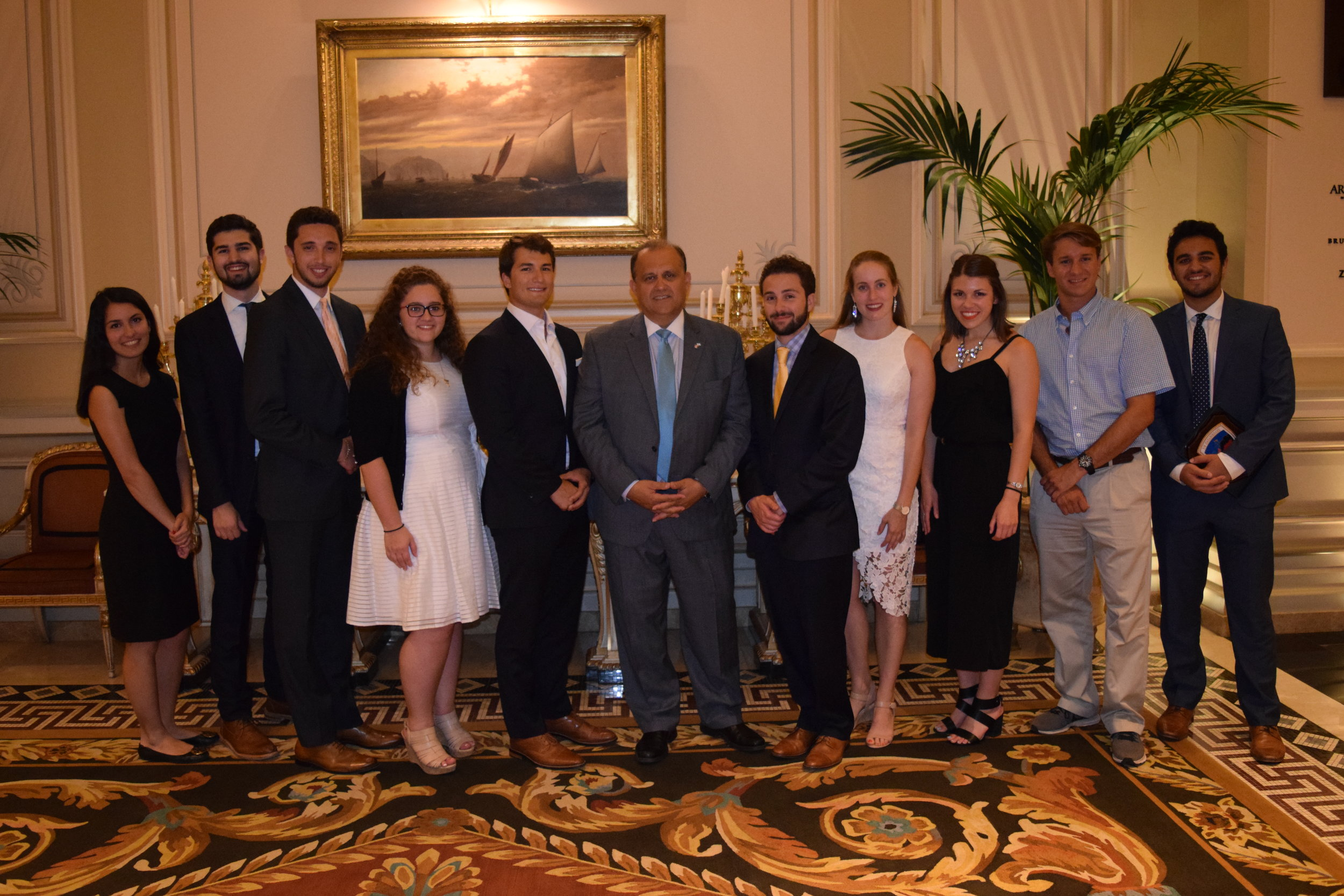 Nick Larigakis and students final photo at the Farewell Dinner.