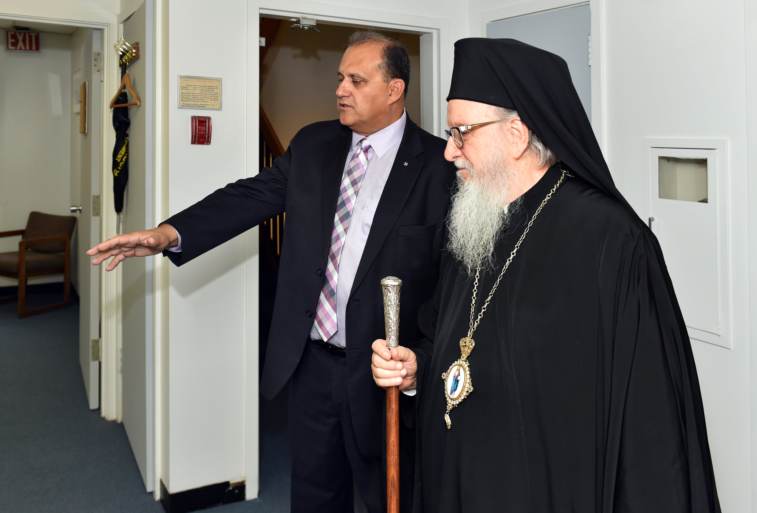 Nick Larigakis provides a tour of the Hellenic House to His Eminence Archbishop Demetrios of America.