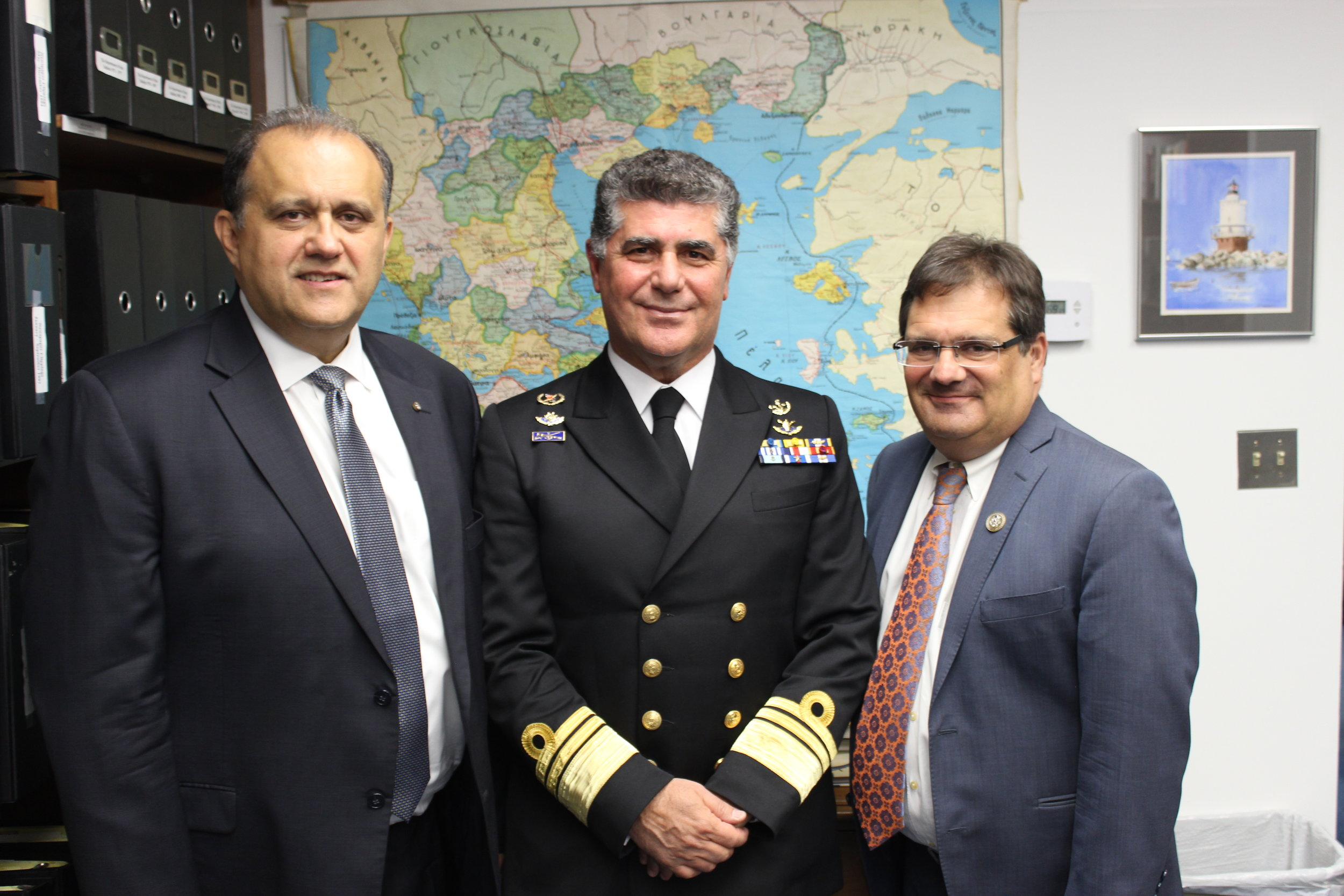 Nick Larigakis, Vice Admiral Tsounis, and Co-Chair of the Hellenic Caucus, U.S. Congressman Gus Bilirakis (FL-12).