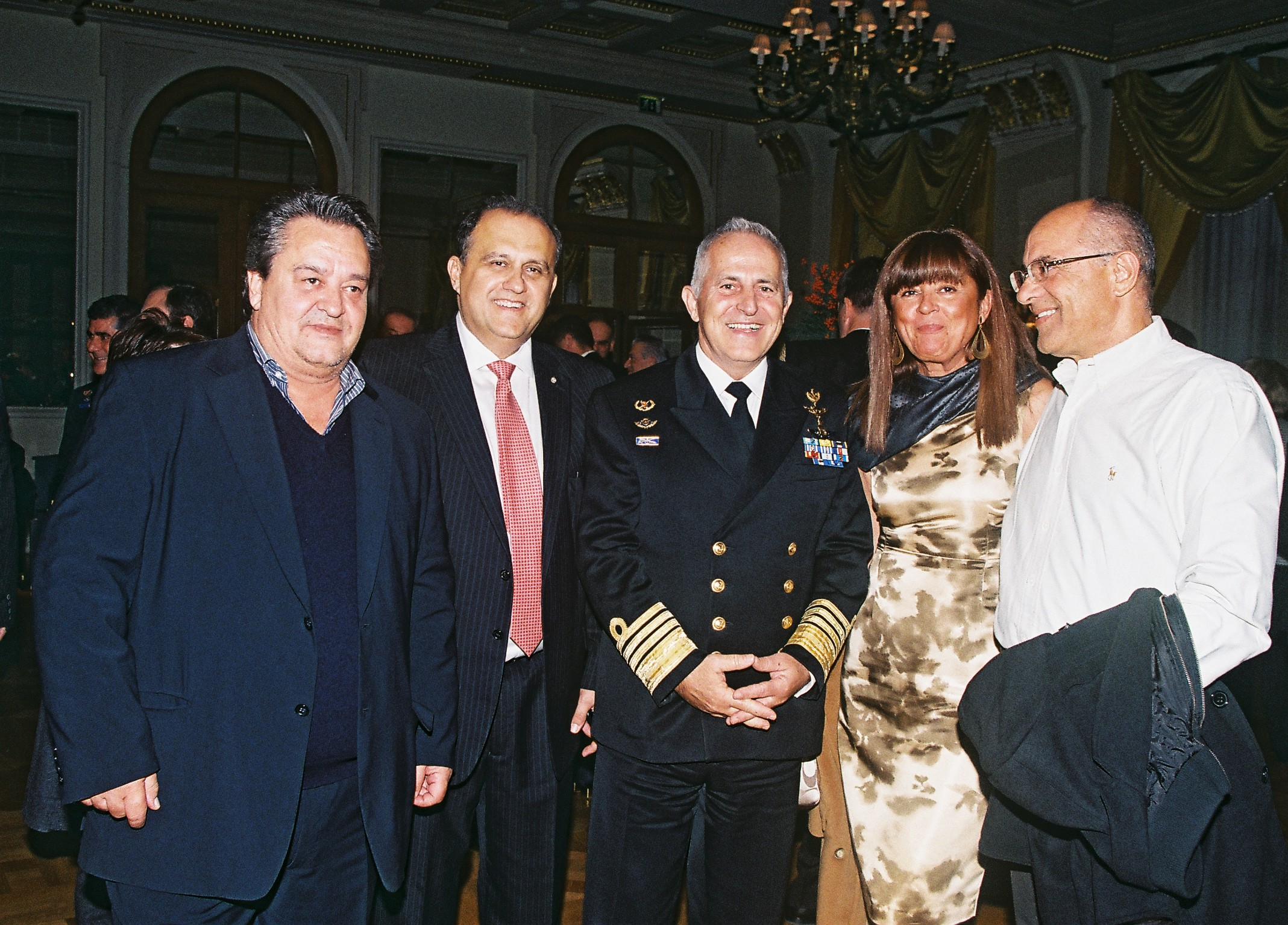 (L-R) Jim Larigakis; Nick Larigakis, President of AHI; Admiral Evangelos Apostolakis, Chief of the Hellenic National Defence General Staff; Theodora Diomis; Dimitri Diomis.