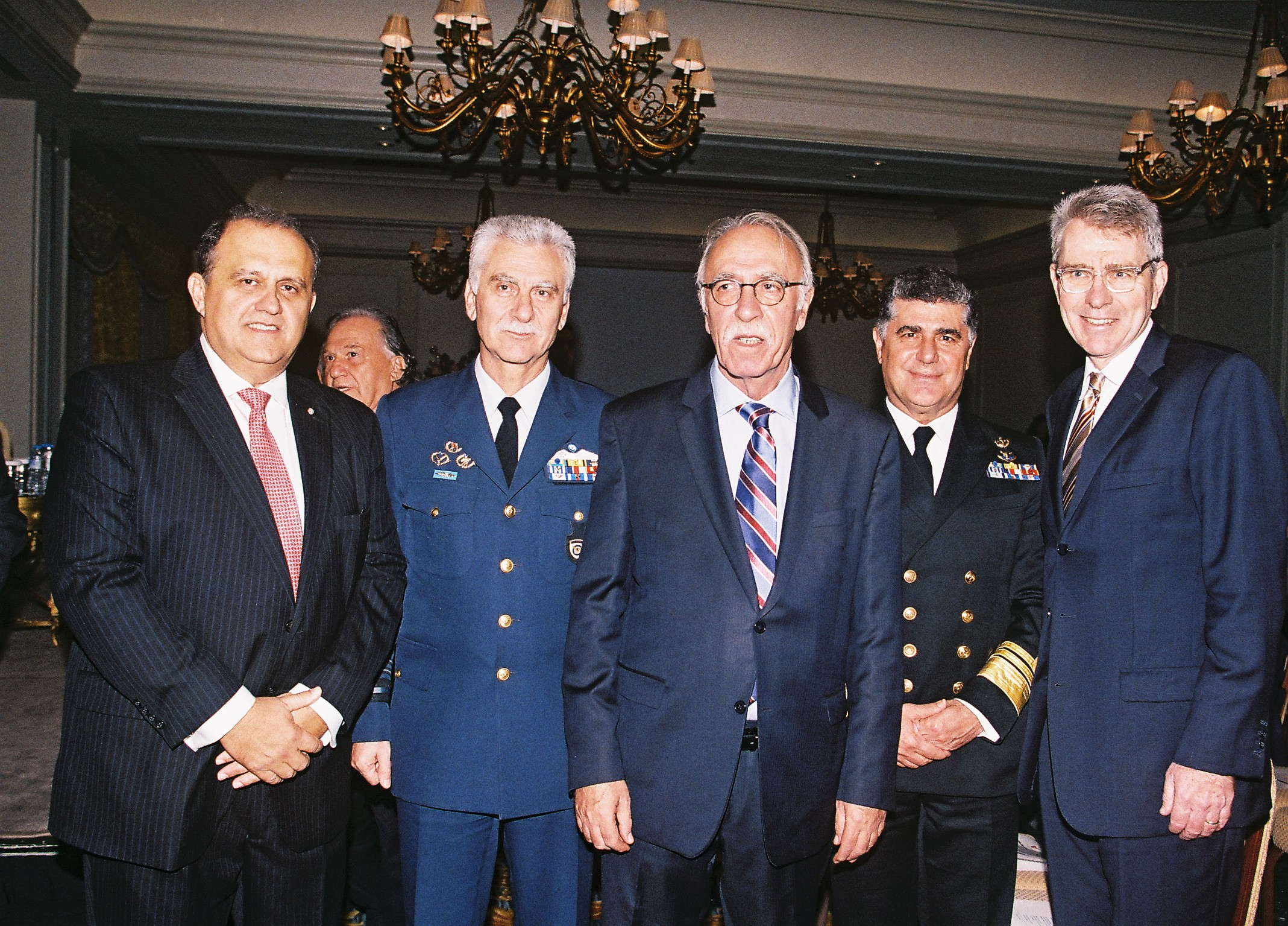 (L-R) Nick Larigakis; Lieutenant General Christos Christodoulou, Chief of the Hellenic Air Force General Staff; Deputy Minister Dimitris Vitsas; Vice Admiral Nicolaos Tsounis, Chief of the Hellenic Navy General Staff; Ambassador Geoffrey Pyatt.