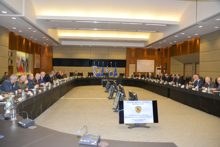 Delegation recieves a defense policy briefing at the Greek Ministry of Defense courtesy of Defense Minister Kammenos.