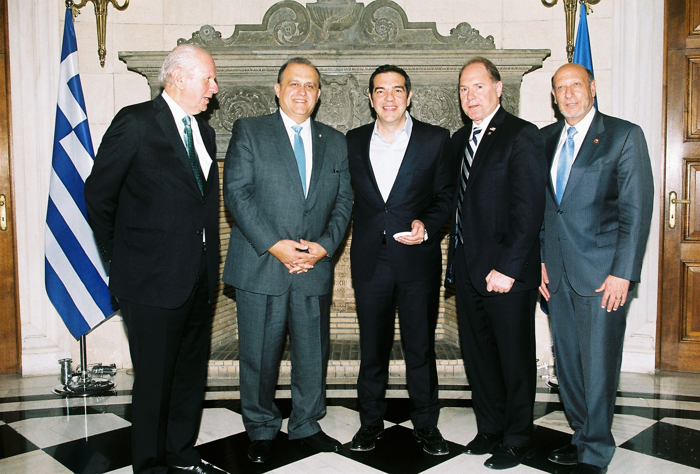 (L-R) Delegation Heads Stephen Greenberg, Chairman of the Conference of Presidents of Major American Jewish Organizations; Nick Larigakis, President of AHI; Prime Minister Alexis Tsipras, Prime Minister of Greece; Carl R. Hollister, Supreme President of AHEPA; Gary P. Saltzman, International President of B'nai B'rith International.