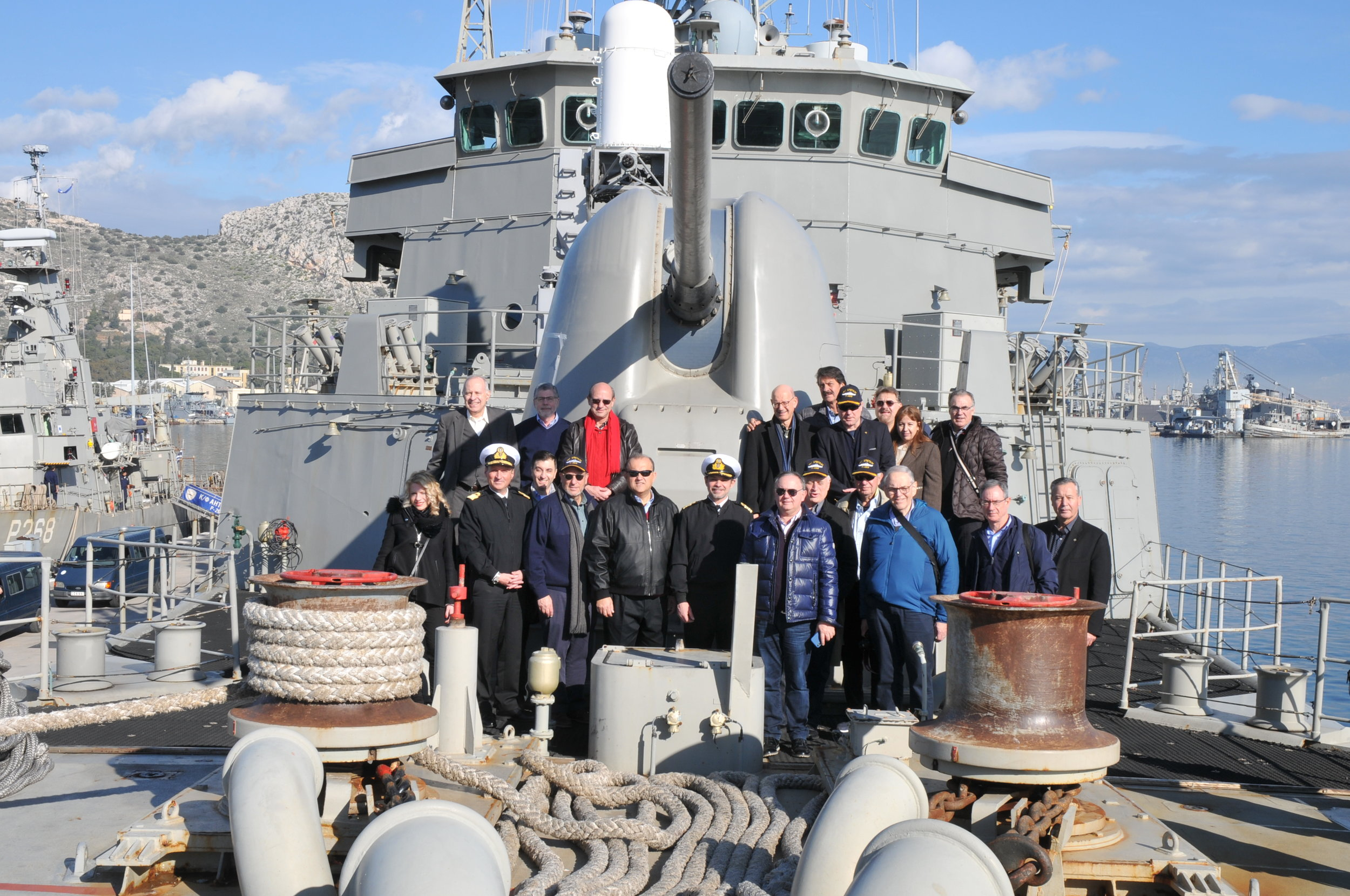 Delegation aboard the deck of the Greek Frigate  Spetses.