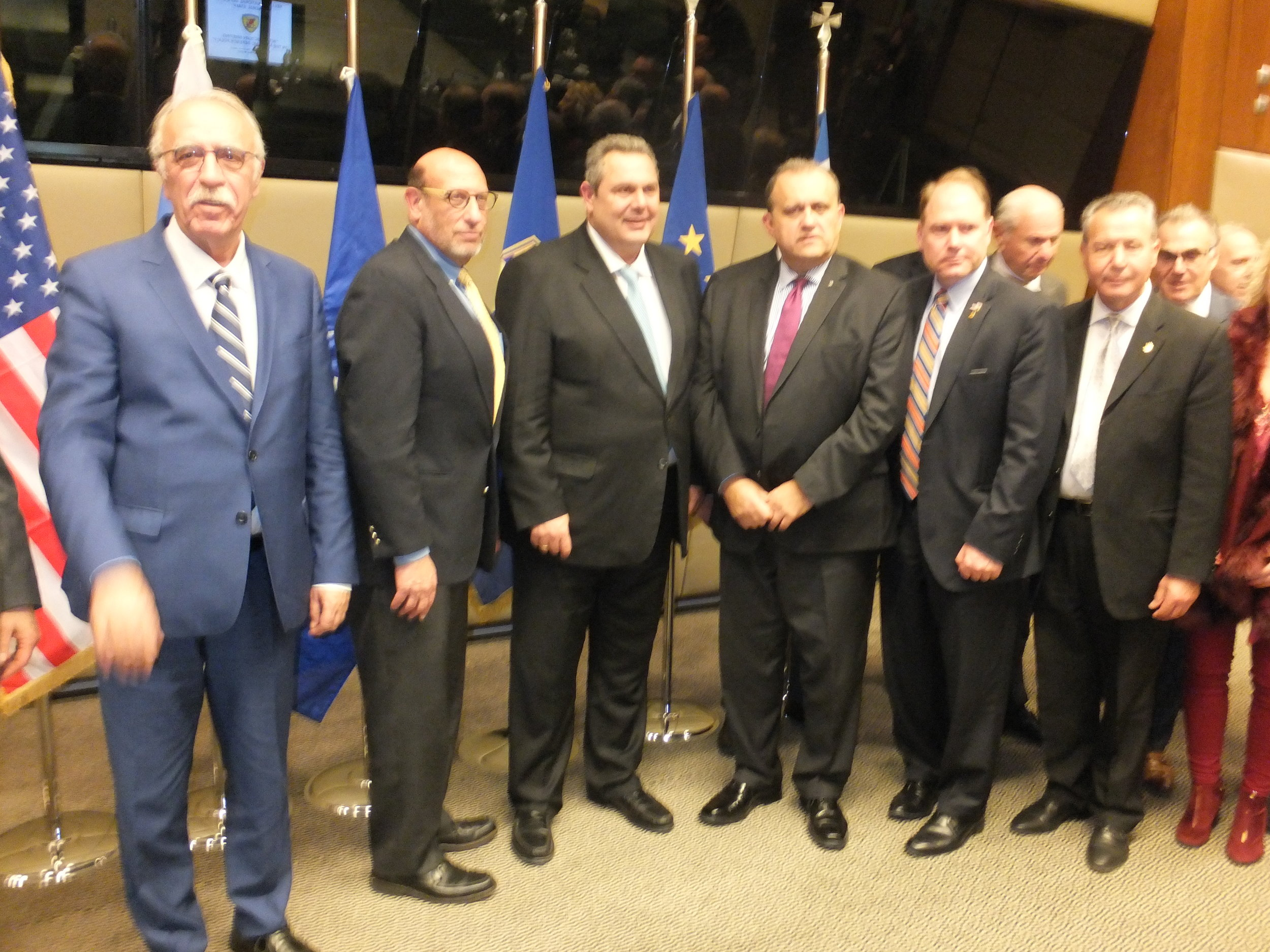 Alternate Minister of Defense Dimitri Vitsas (L) and Defense Minister Panos Kammenos (third from left) with the delegation heads.