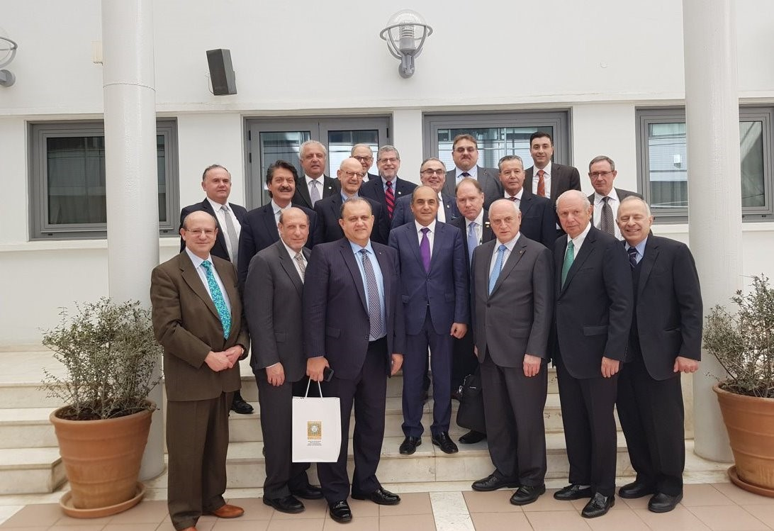 Delegation with President of the House of Representatives Demetris Syllouris outside of the Cypriot House of Representatives.