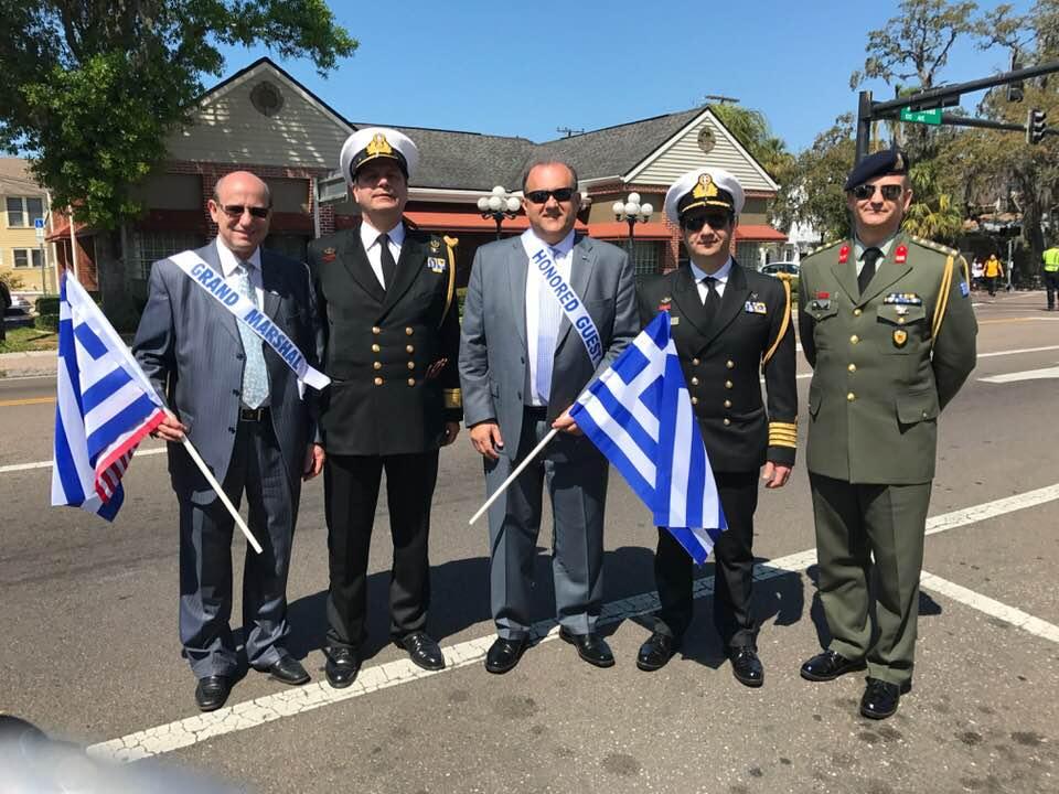 (L - R) Constantine Galanis; Rear Admiral Ioannis Paxivanakis; Nick Larigakis; Captain Charalampos Pegklidis, Greek Naval Attaché; Colonel Panagiotis Kavidopoulos, Greek Defense Attaché.