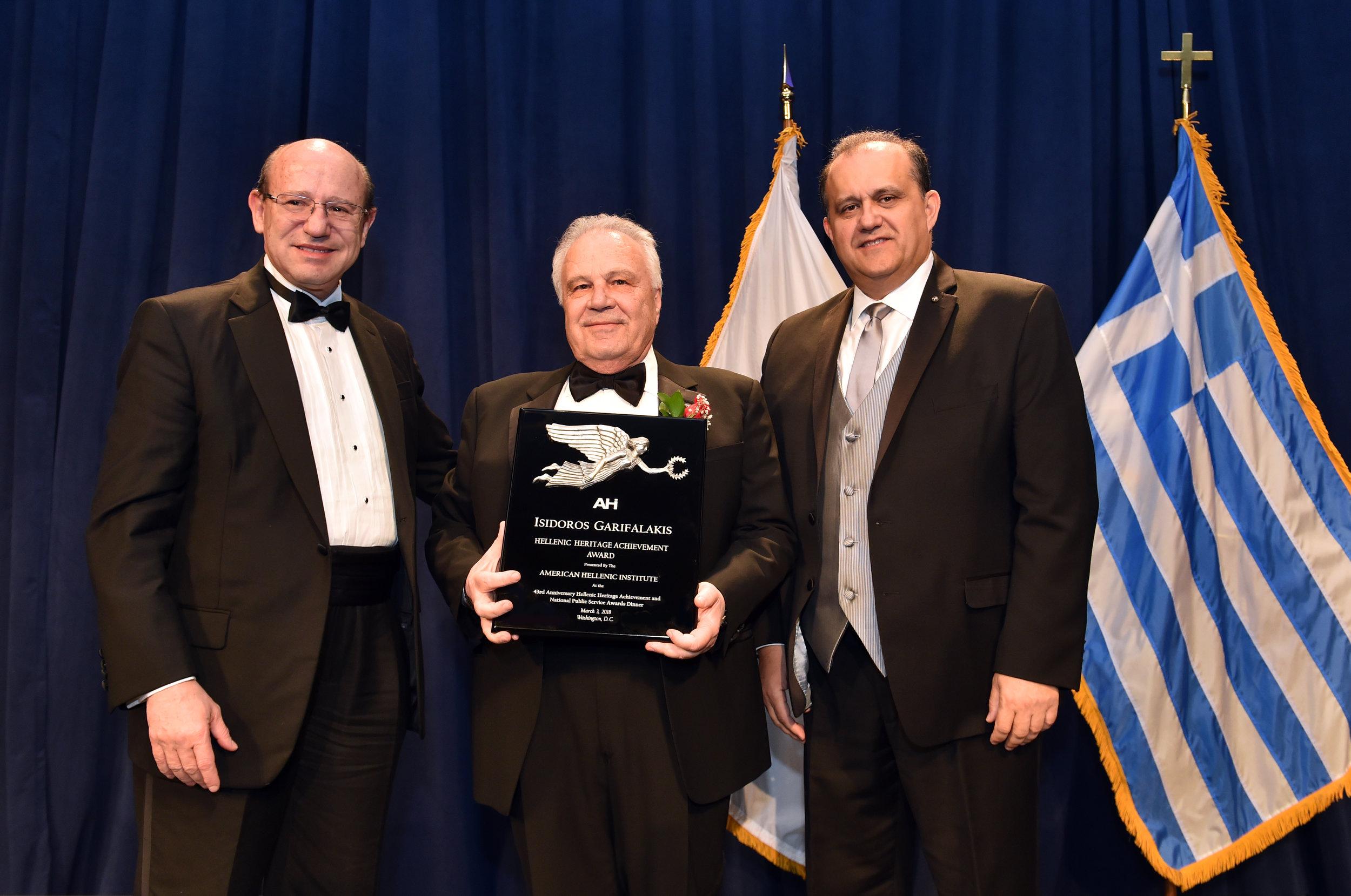 Isidoros Garifalakis receives the AHI Hellenic Heritage Achievement Award.