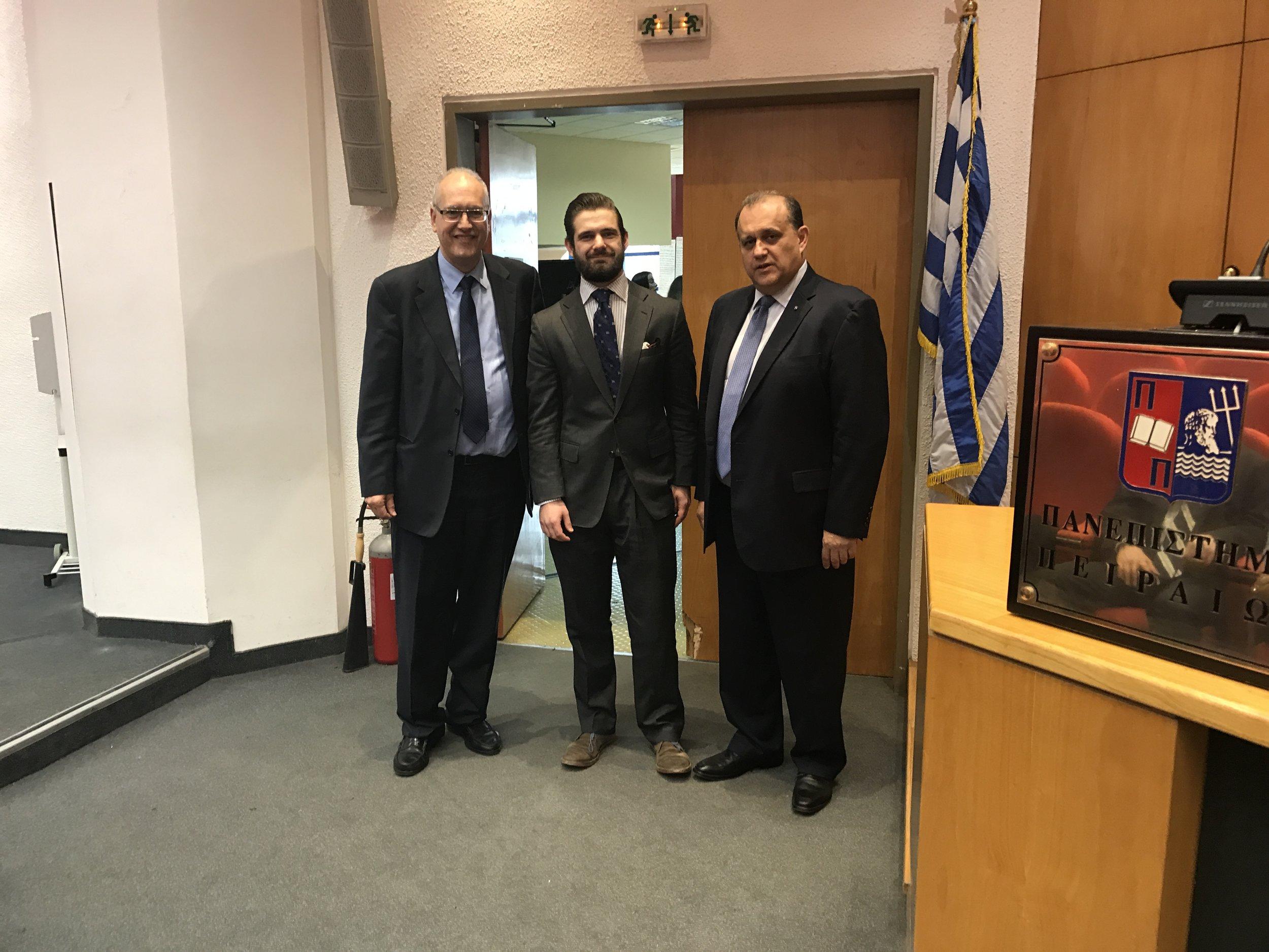 Evanghoras L. Evaghorou, Lecturer of International Relations at the University of Piraeus; Gregory Graves, and Nick Larigakis.