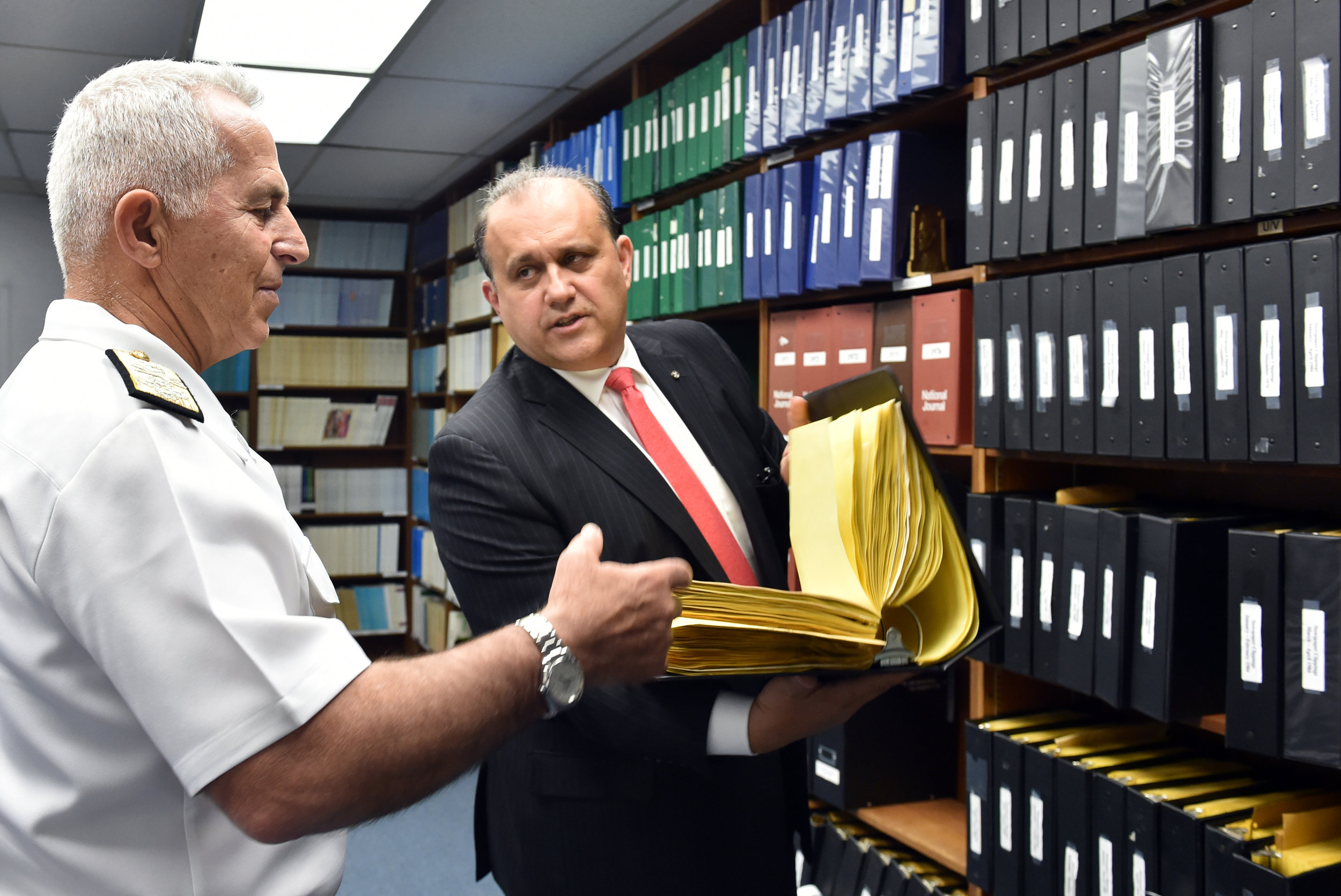 Larigakis giving the Admiral a tour of the E. John & Cleo Rumpakis AHIF Library.