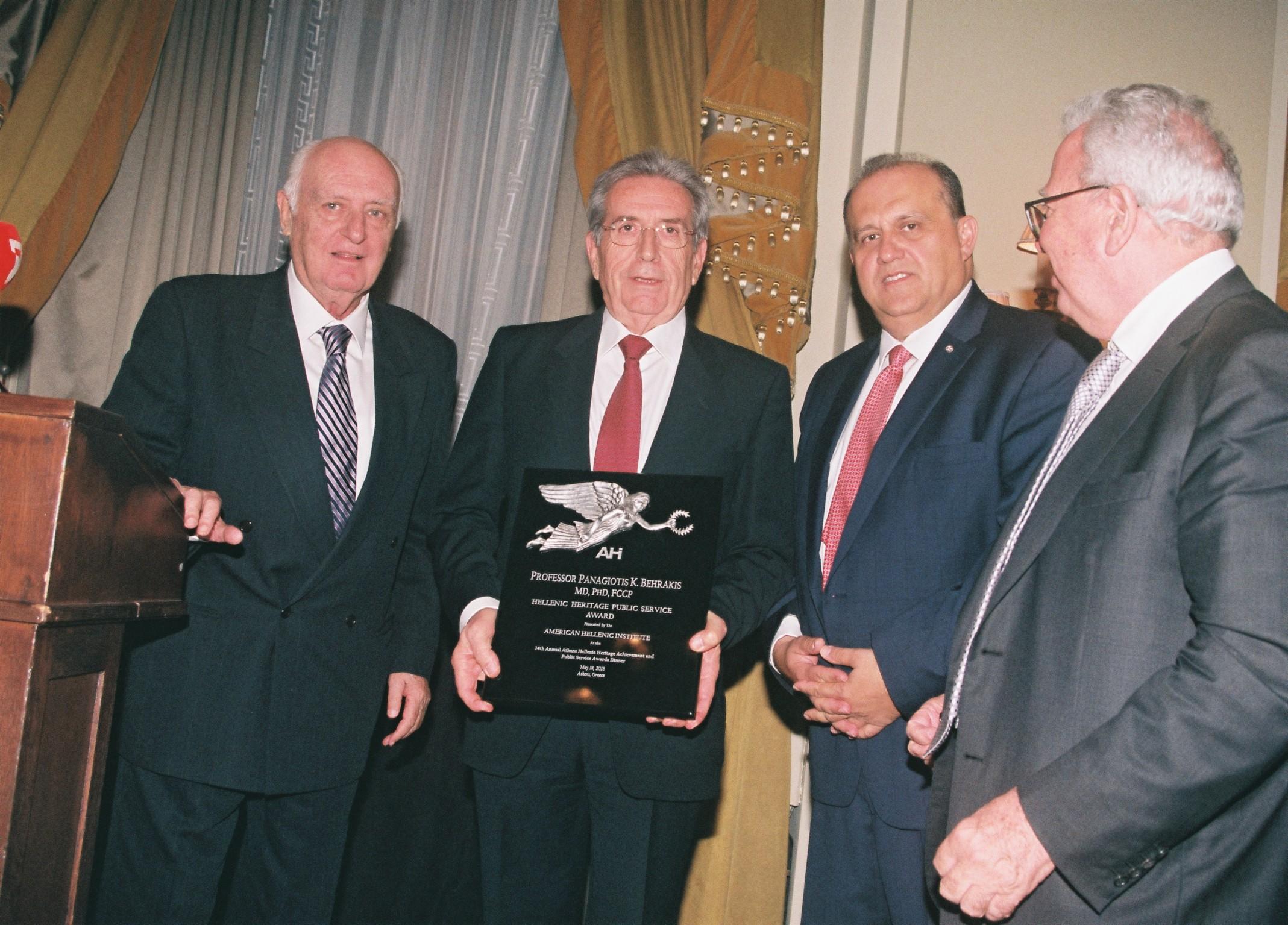 Dr. Behrakis accepts the AHI Hellenic Heritage Public Service Award.