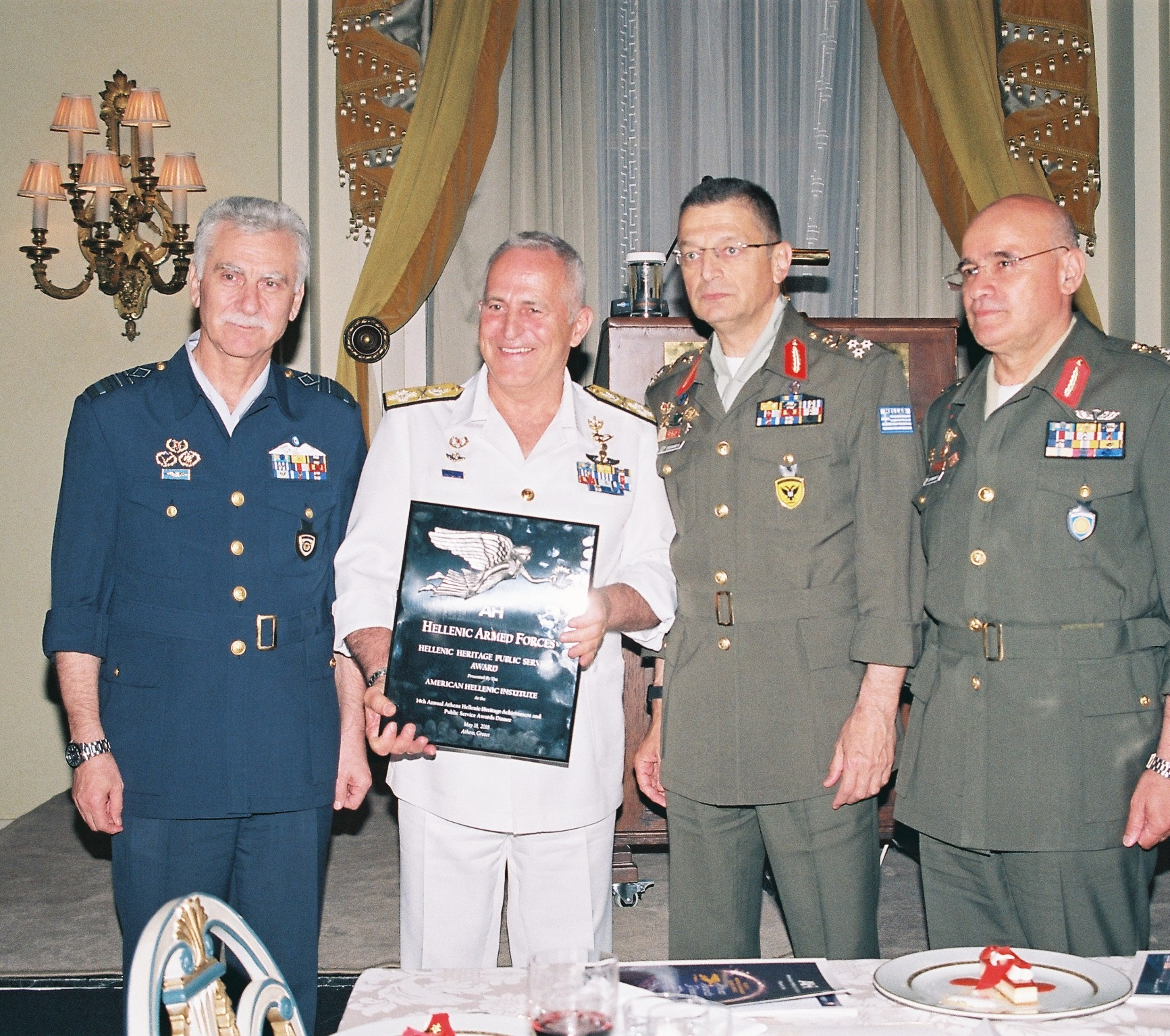 Lieutenant General Christos Christodoulou, Chief of the Hellenic Air Force General Staff; Admiral Apostolakis, Chief of the Hellenic Armed Forces; Lieutenant General Alkiviadis Stefanis, Chief of the Hellenic Army General Staff; and Lieutenant General Dimokritos Zervakis, Commander, Hellenic First Army - Larisa.