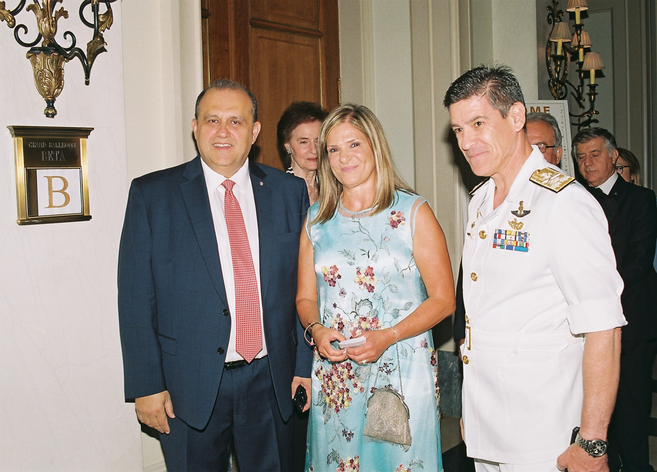 Nick Larigakis with Vice Admiral Ioannis G. Paulopoulos HN, Commander in Chief of the Hellenic Fleet and his wife.