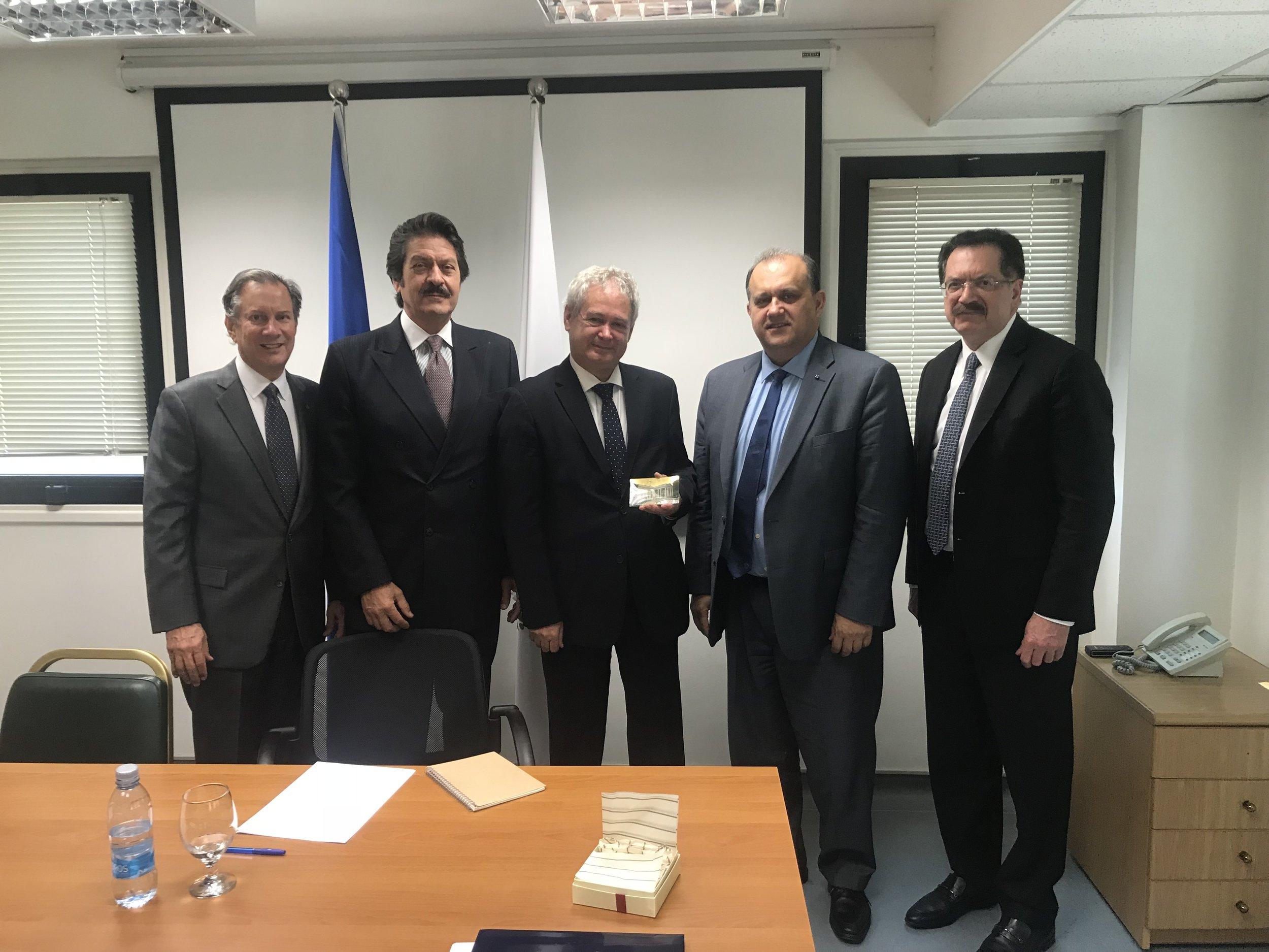 AHI Delegation with Greek Cypriot Negotiator, Ambassador Andreas Mavroyiannis.