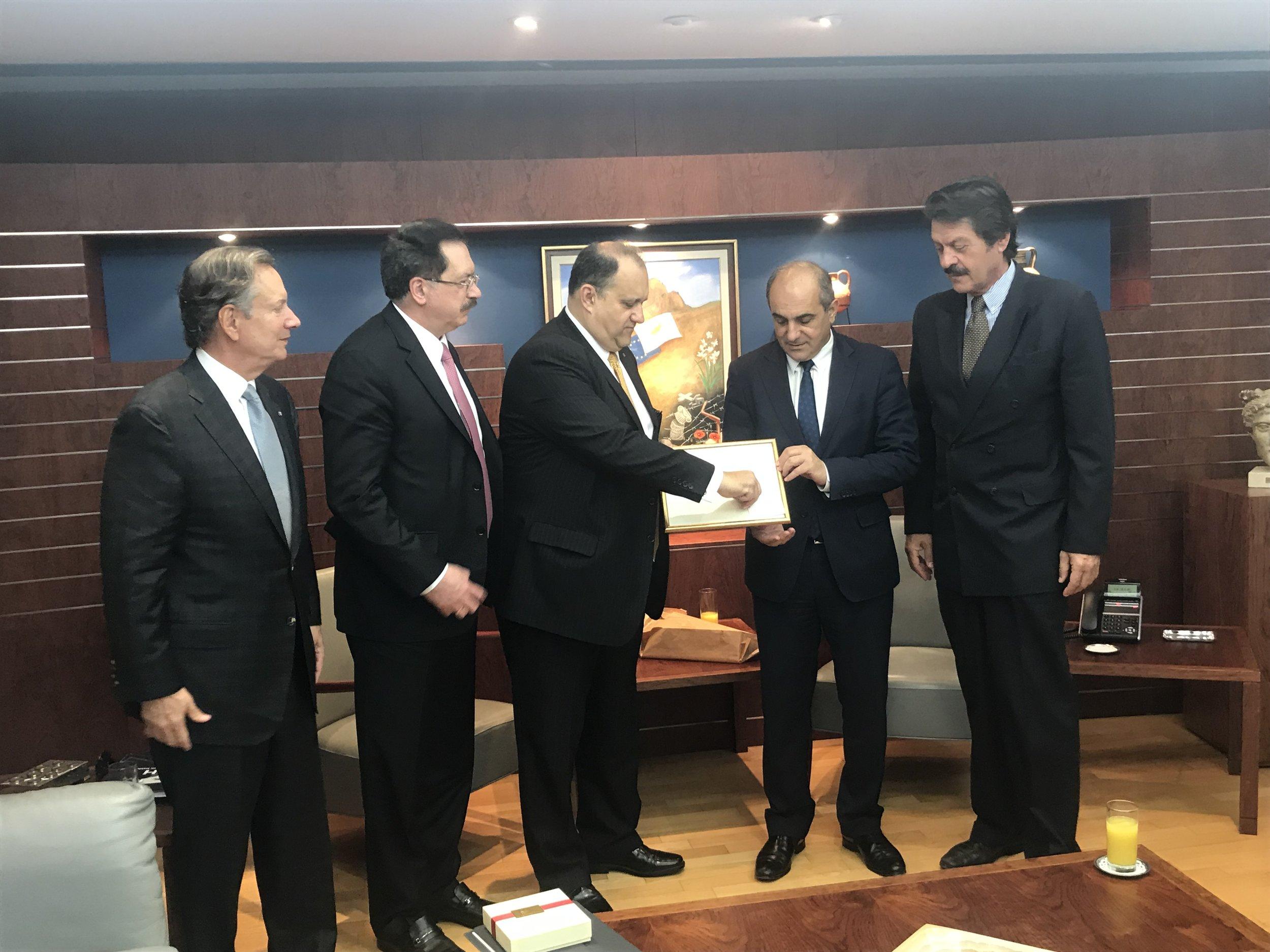 AHI Delegation with MP Demetris Syllouris, President of the House of Representatives.
