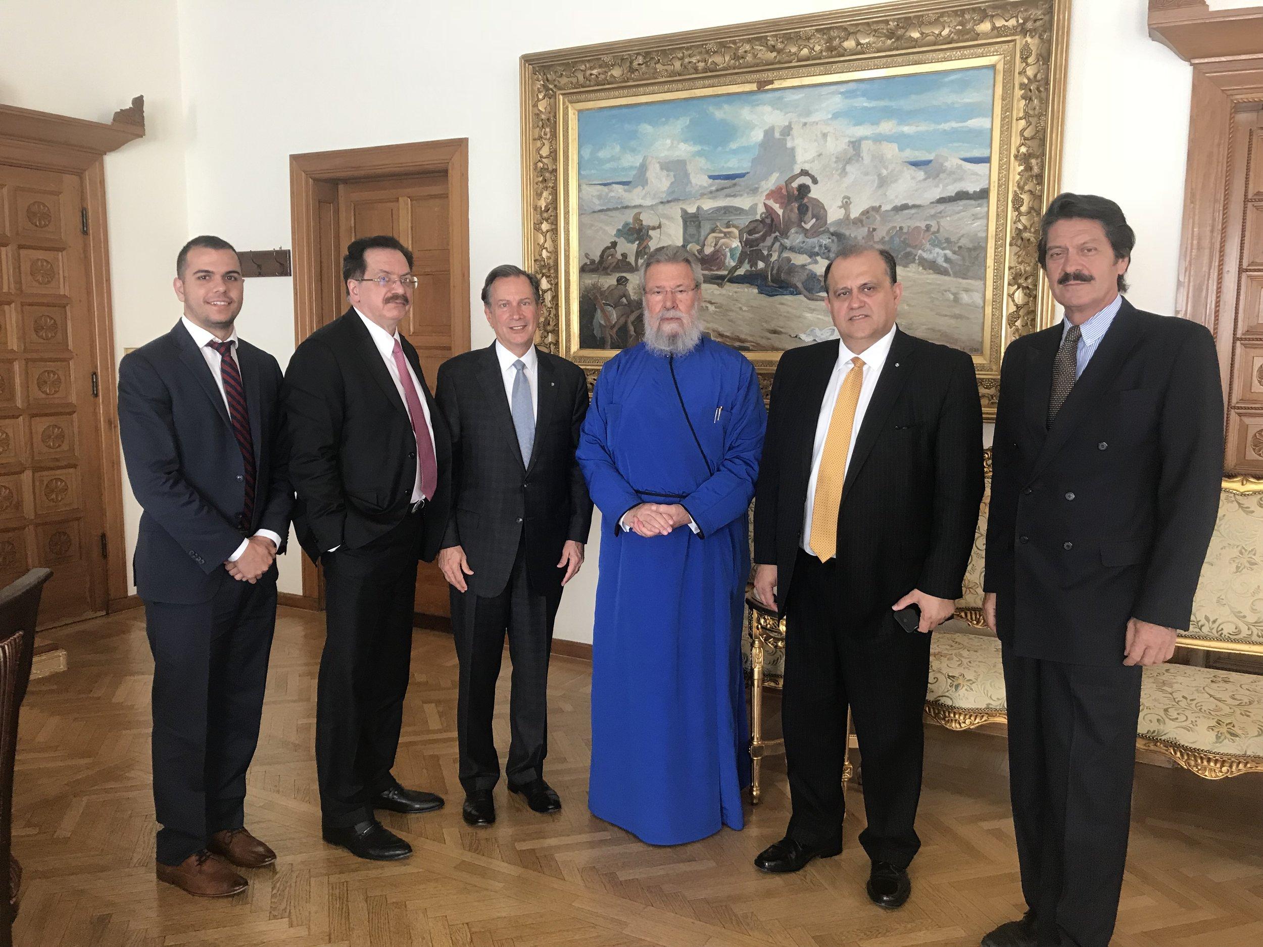 AHI Delegation with His Beatitude Chrysostomos II, Archbishop of Cyprus.