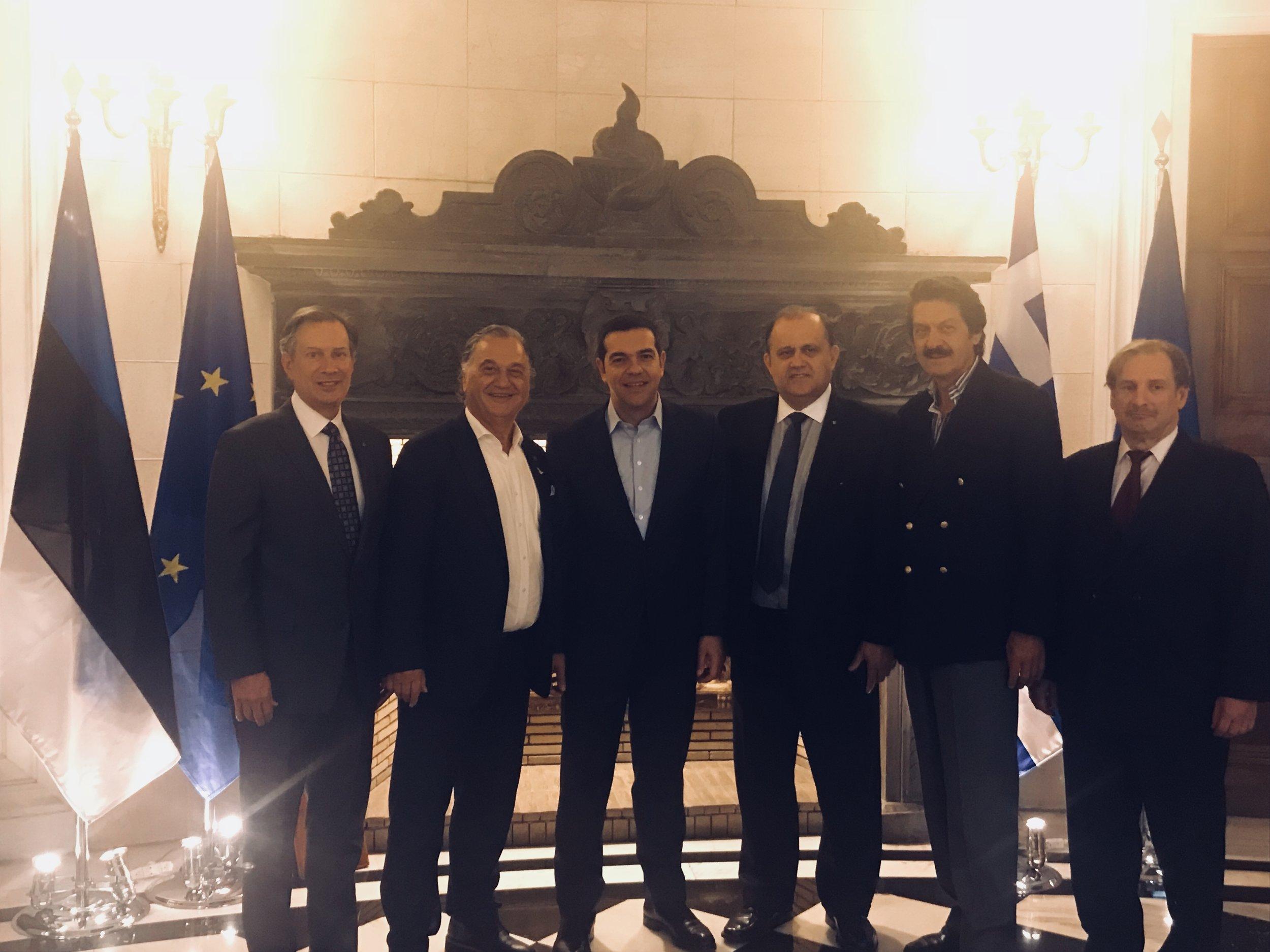 (L-R) AHI Board Member Leon Andris, AHI Member George Mermelas, Greek Prime Minister Alexis Tsipras, AHI President Nick Larigakis, AHI Board Member Kostas Alexakis, AHI Board Member Nick Karameblas.