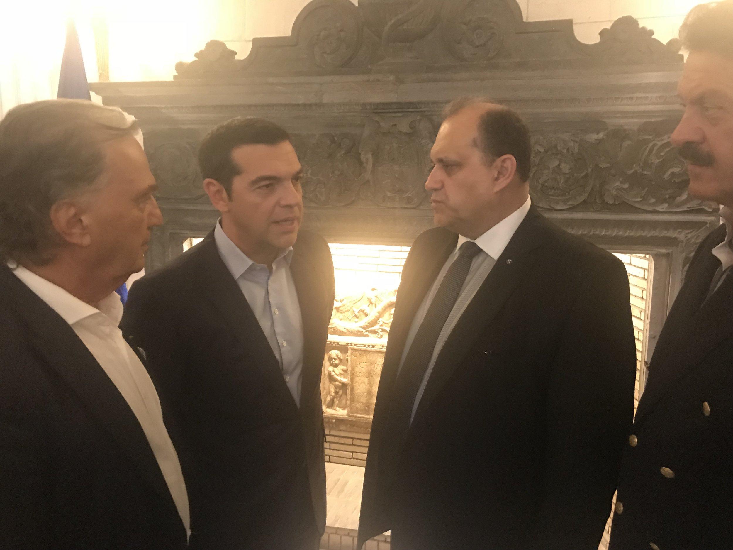 Nick Larigakis speaks with Prime Minister Tsipras.