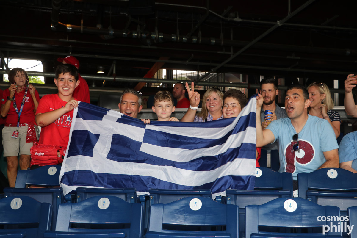 Phillies Greek Heritage night attendees showing their Greek pride.