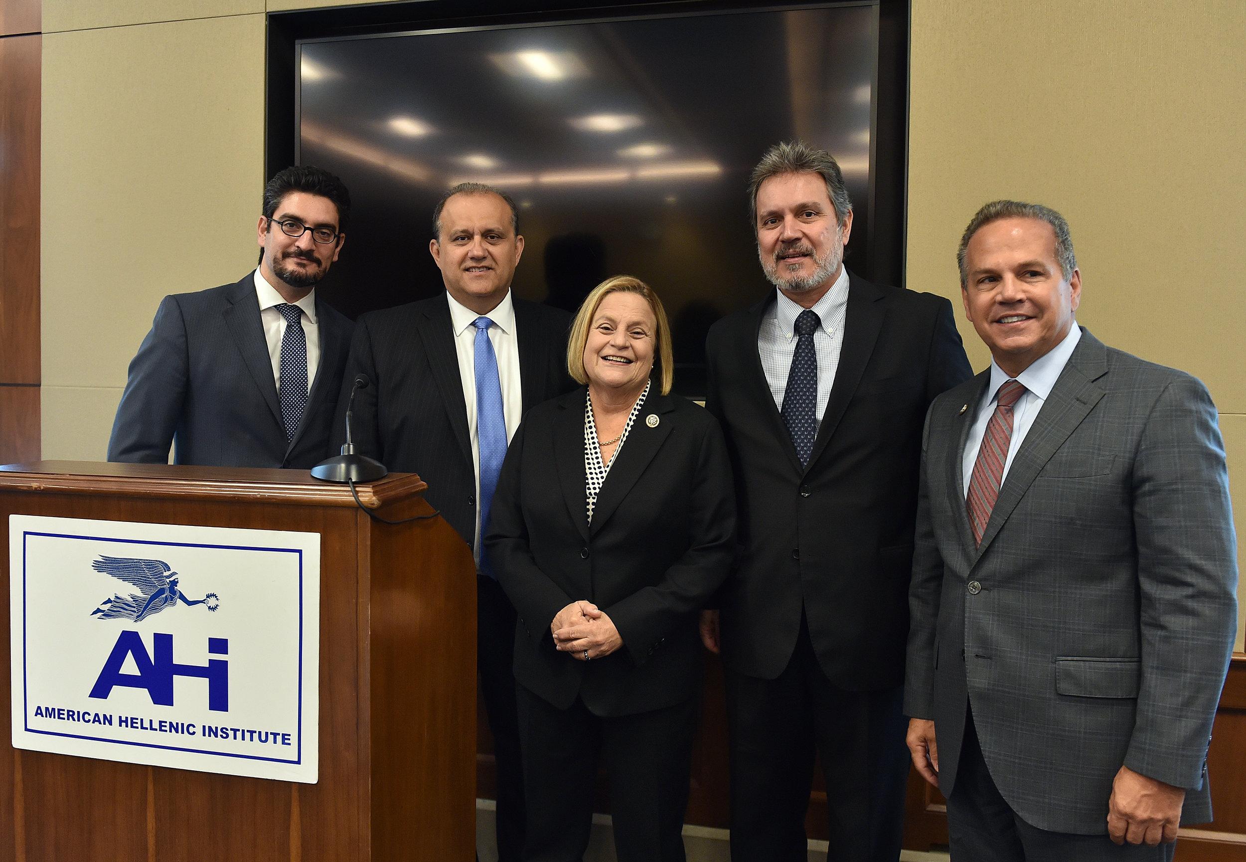 (L-R) Mr. Konstantinos Polykarpou, Consul, Embassy of Cyprus; Nick Larigakis, President, AHI; Rep. Ileana Ros-Lehtinen (R-FL);  Haris Lalacos, Ambassador of Greece to the U.S.A. ; Rep. David Cicilline (D-RI).