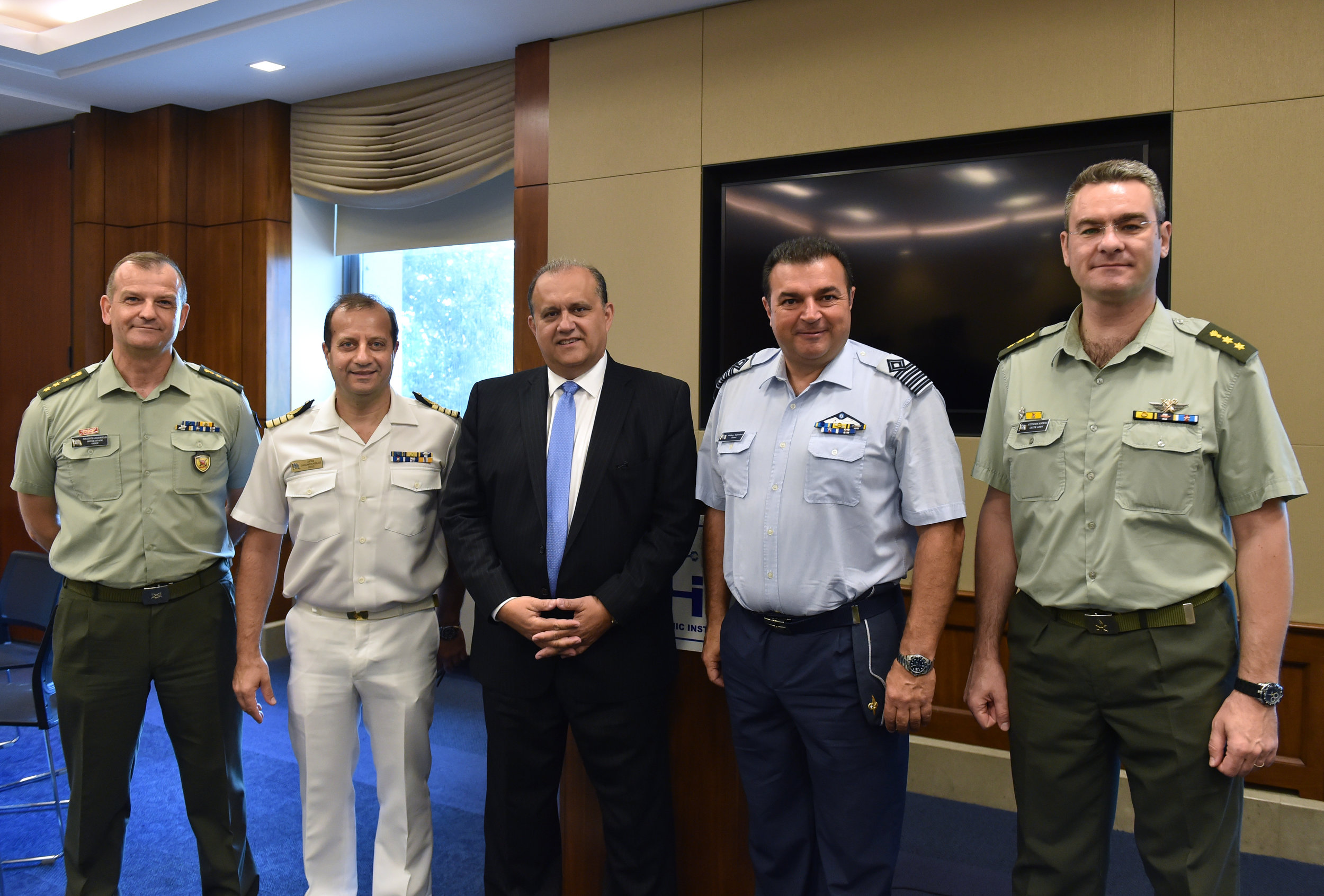 Nicholas Larigakis, President of AHI, with the military attaches of Embassy of Greece