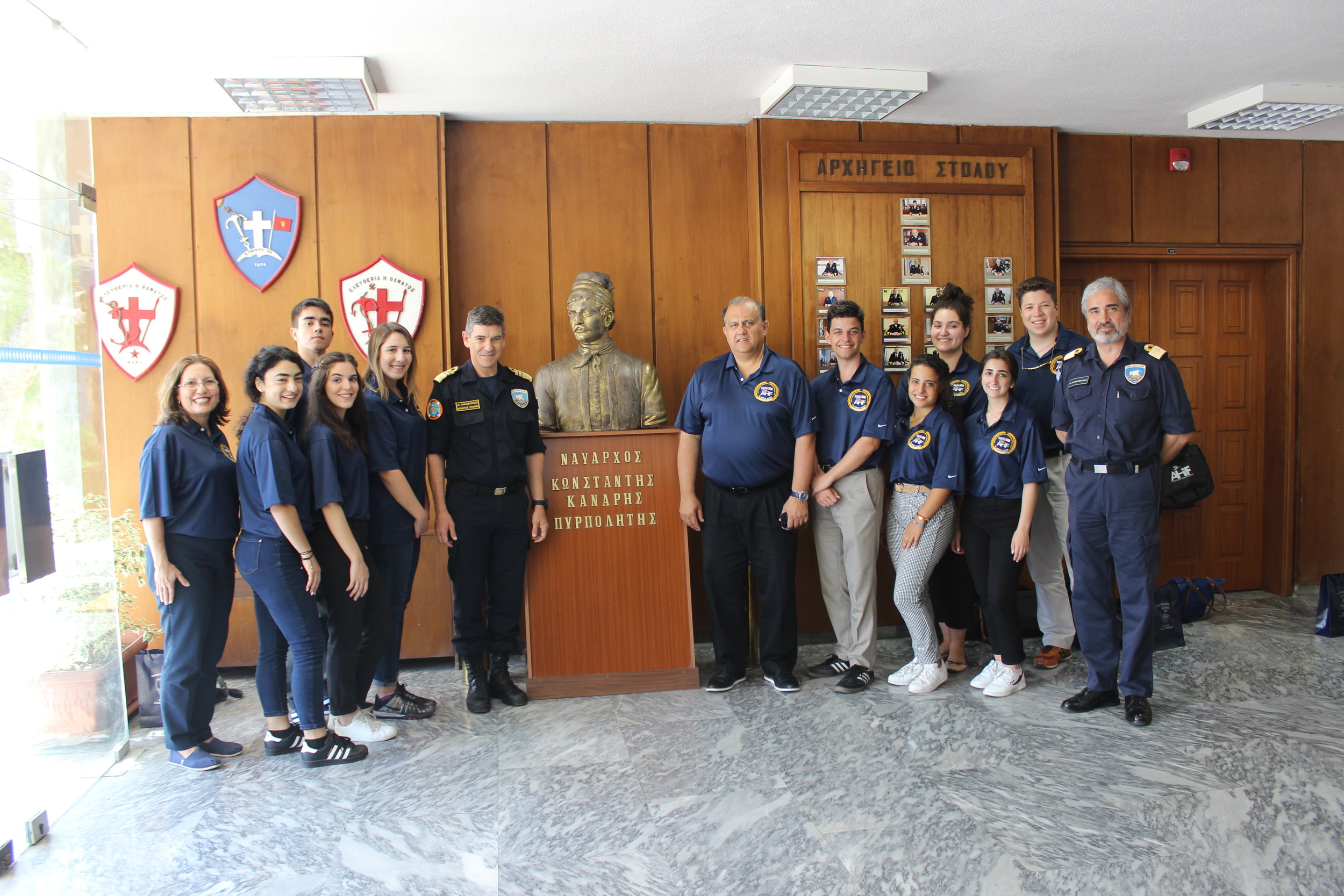 Visit to Salamis Naval Base with Commander of the Greek Naval Fleet, Vice Admiral Ioannis Pavlopoulos (left of statue).