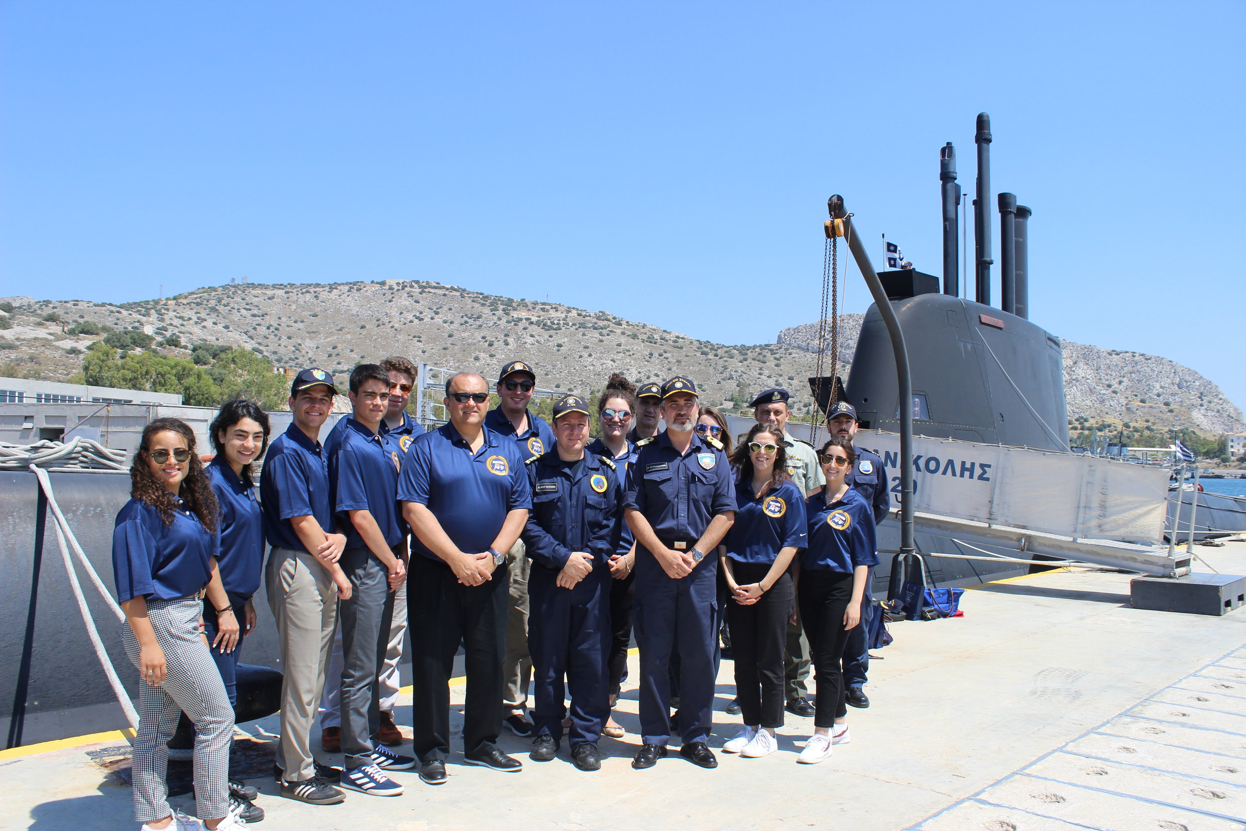 Students with a submarine class-214 at Salamis Greek Naval Fleet headquarters.