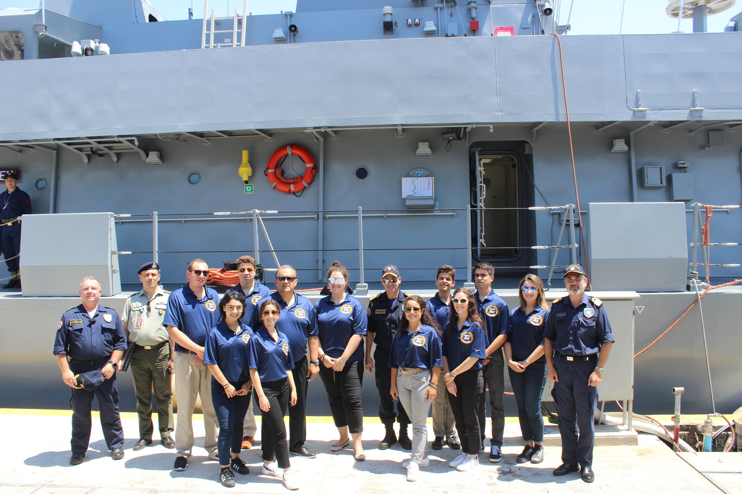 Guided tour and briefing of a Greek naval ship.