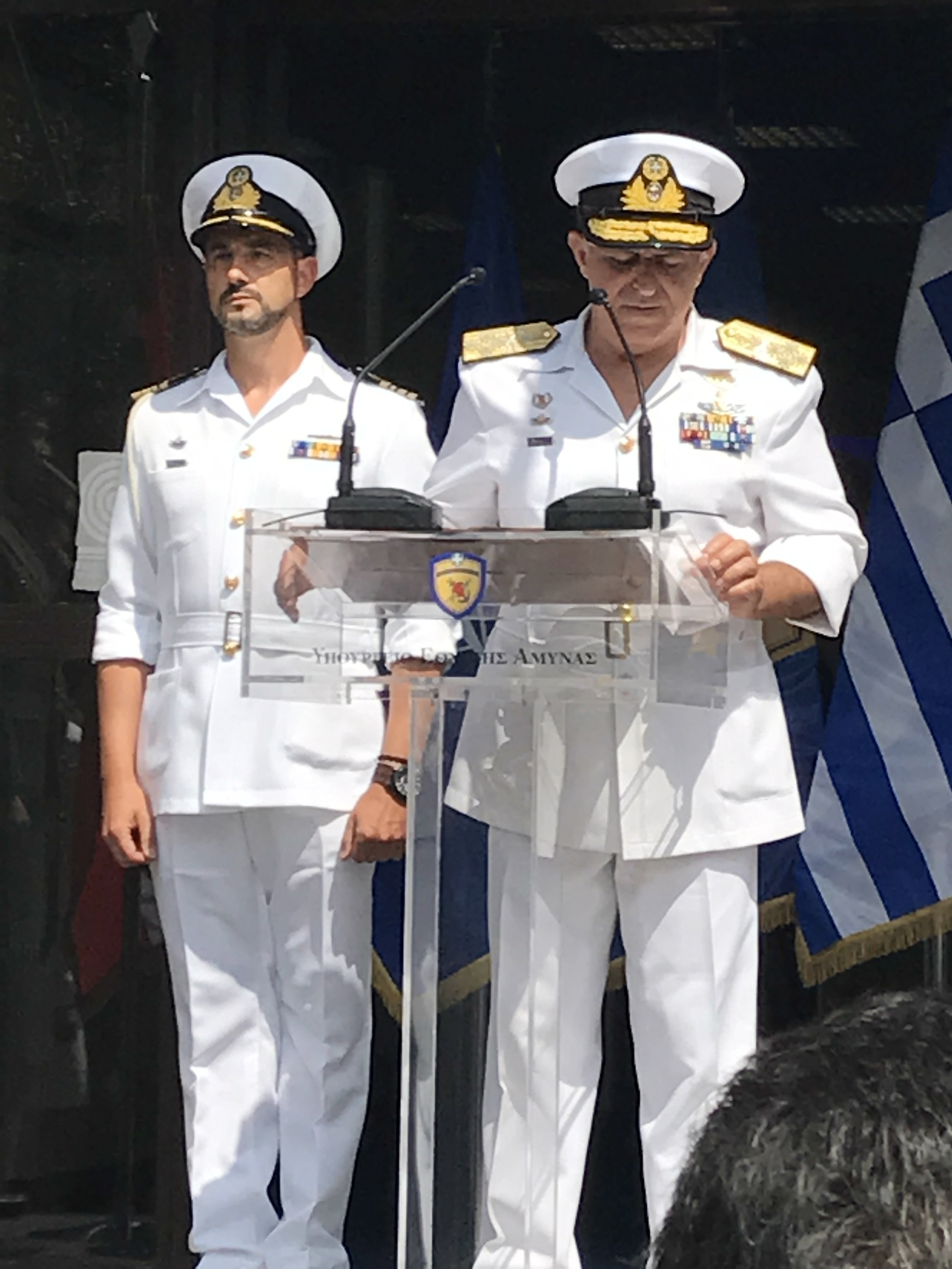 Admiral Evangelos Apostolakis, Chief of the Hellenic Armed Forces, provides opening remarks at the inauguration of the Hellenic Armed Forces pavilion.