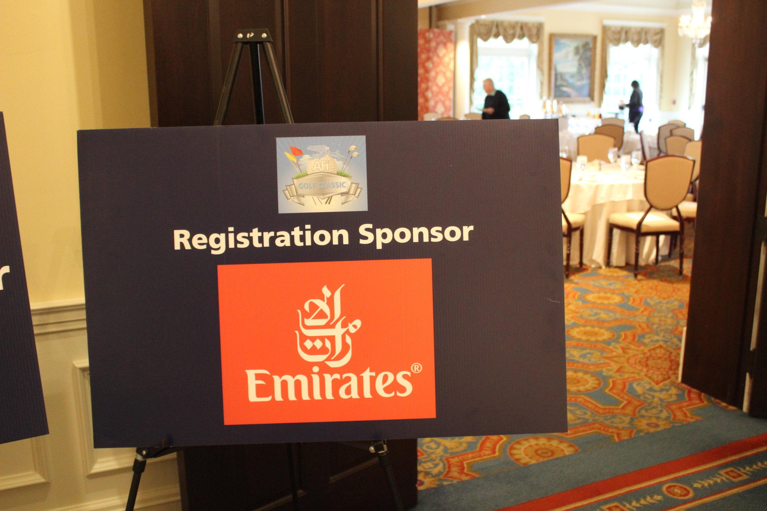Emirates Airlines, Registration Sponsor.