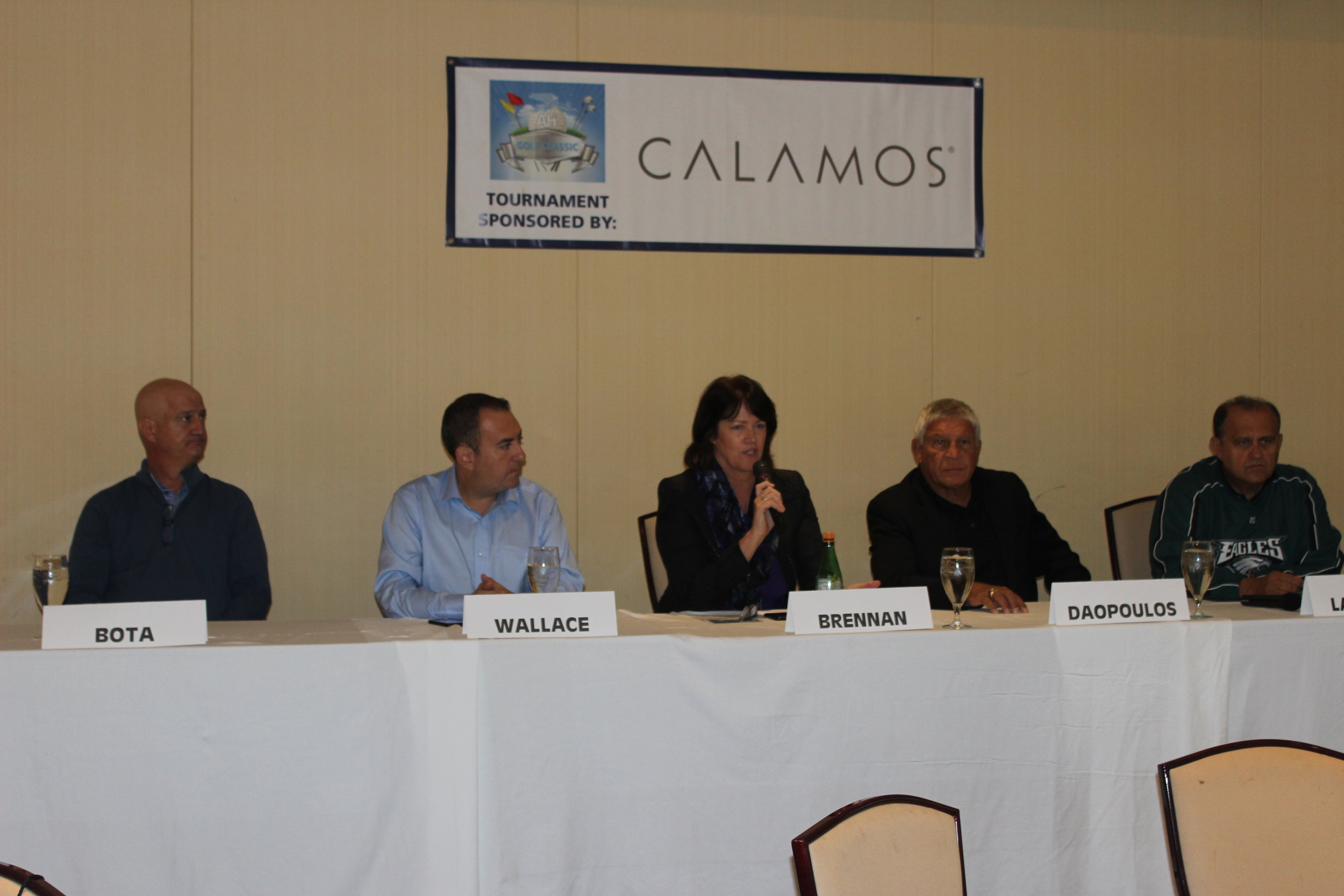 (L-R) Golf Classic Chairman Peter Bota; George Wallace, sports director,  WTOP  Radio; Christine Brennan, journalist,  USA Today;  Jim Daopoulos,  ESPN  rules analyst and former NFL official; Nick Larigakis, AHI President.